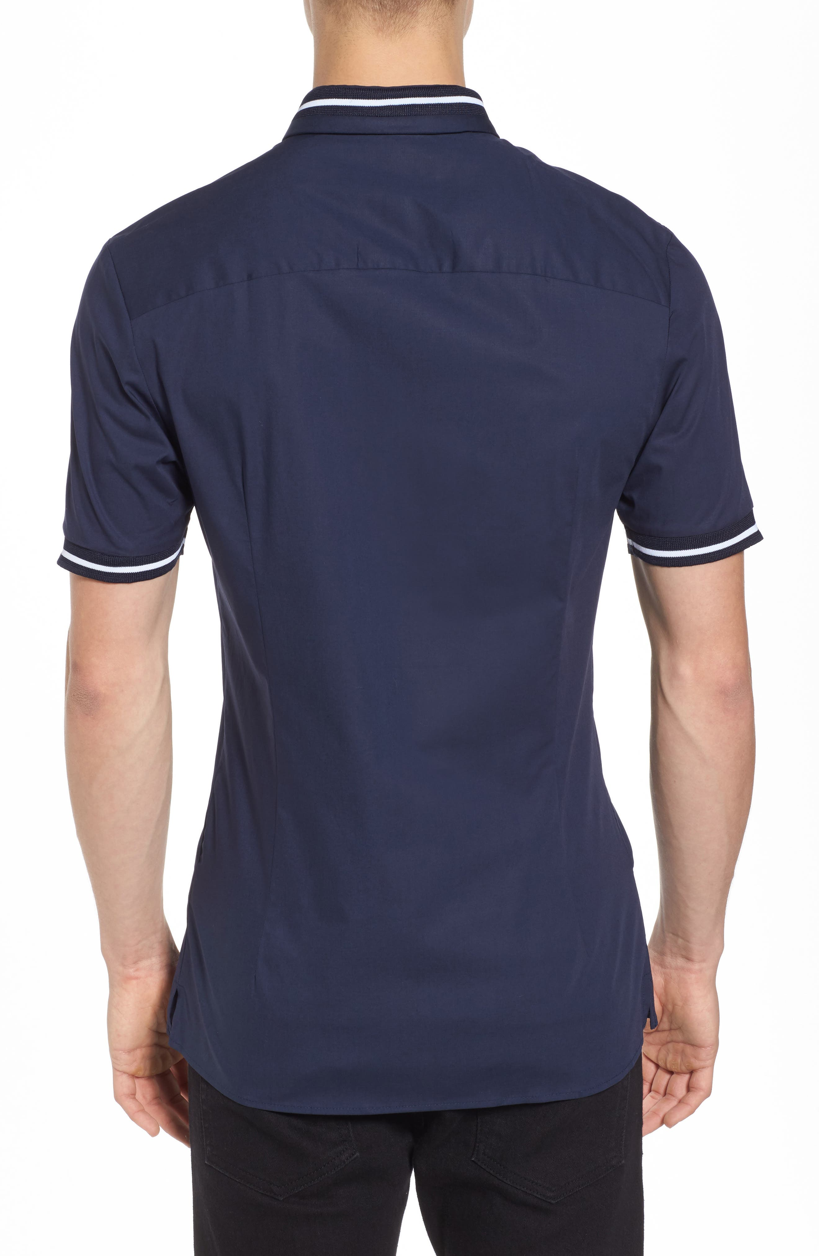 Muscle Fit Stripe Tipped Shirt,                             Alternate thumbnail 4, color,