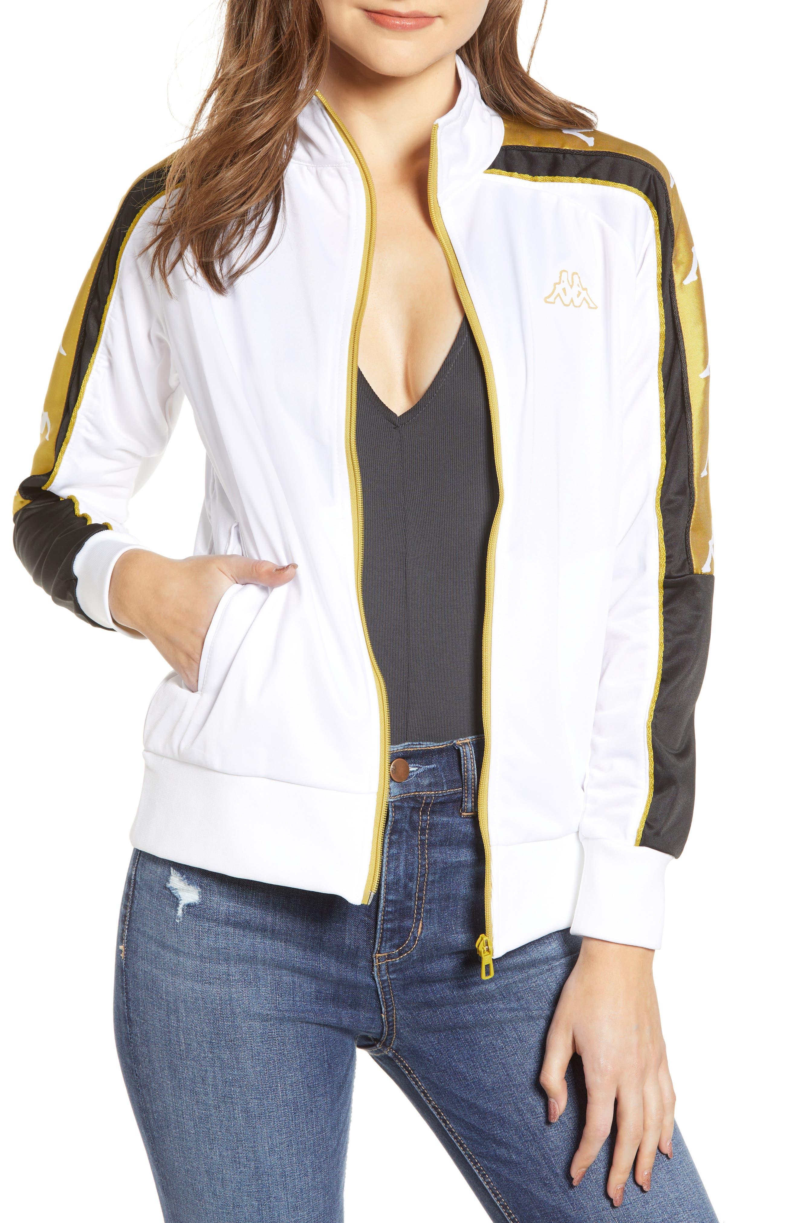 Active Logo Warmup Jacket,                             Main thumbnail 1, color,                             WHITE/ YELLOW GOLD