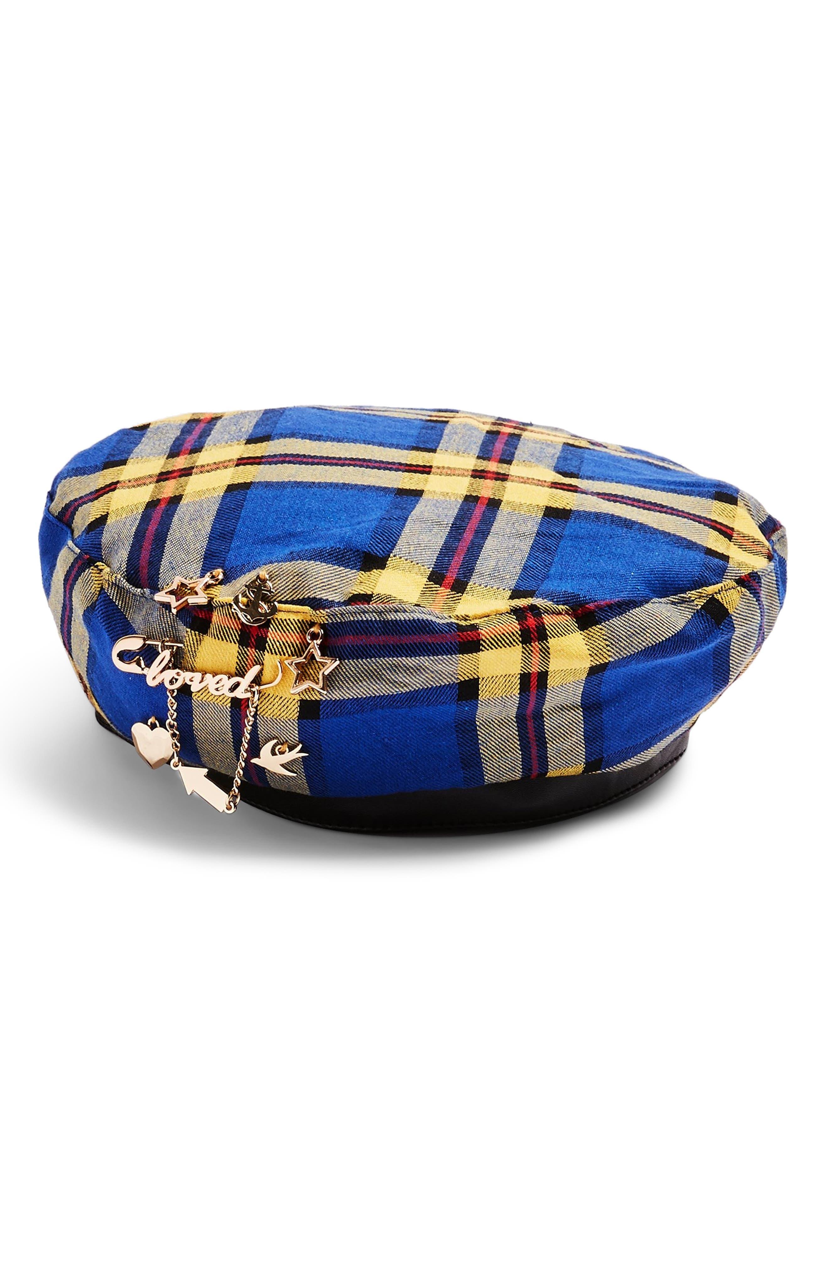 Charm Check Beret,                         Main,                         color, BLUE MULTI