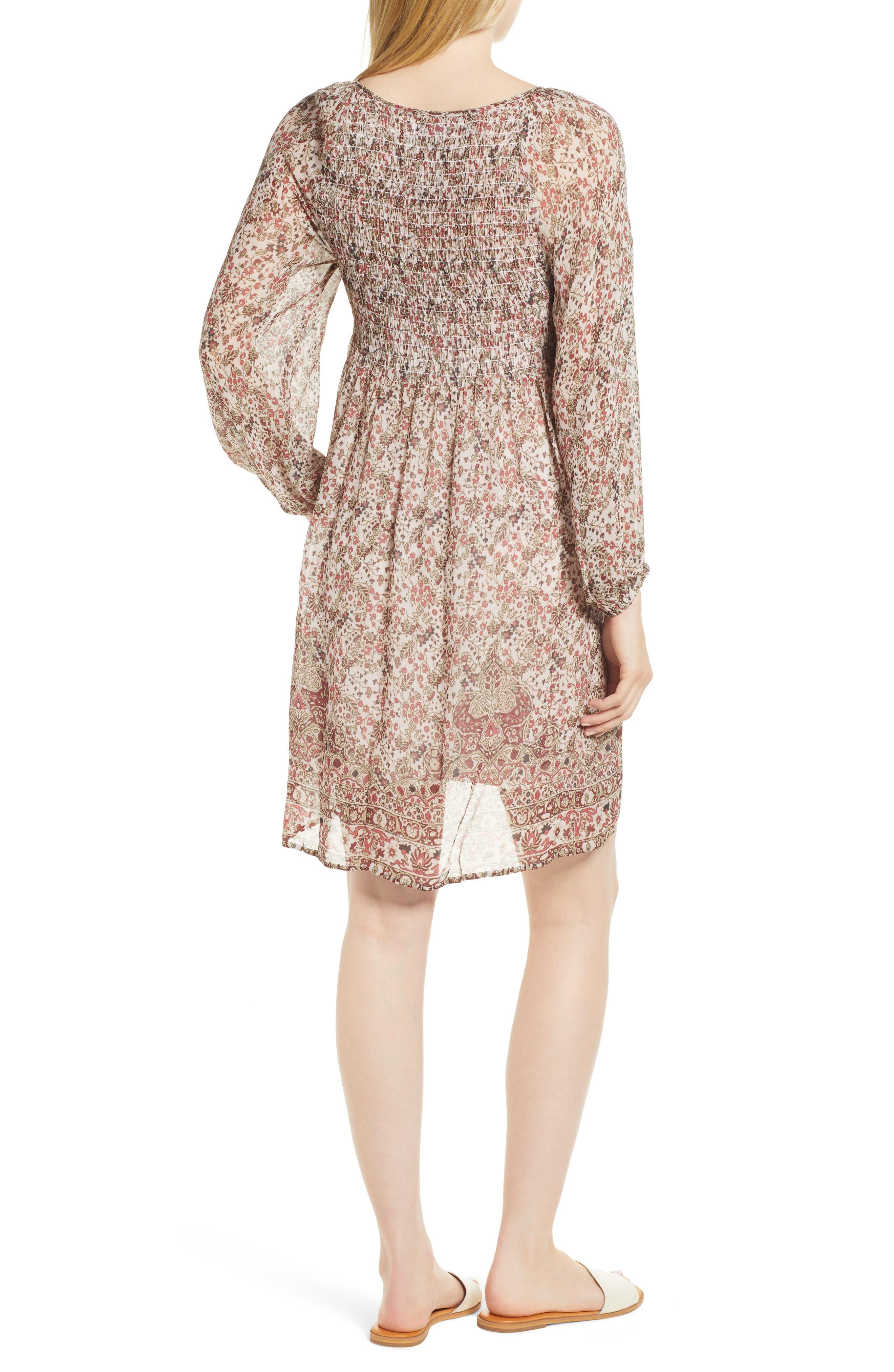 Sebastian Printed Smocked Dress,                             Alternate thumbnail 2, color,                             696