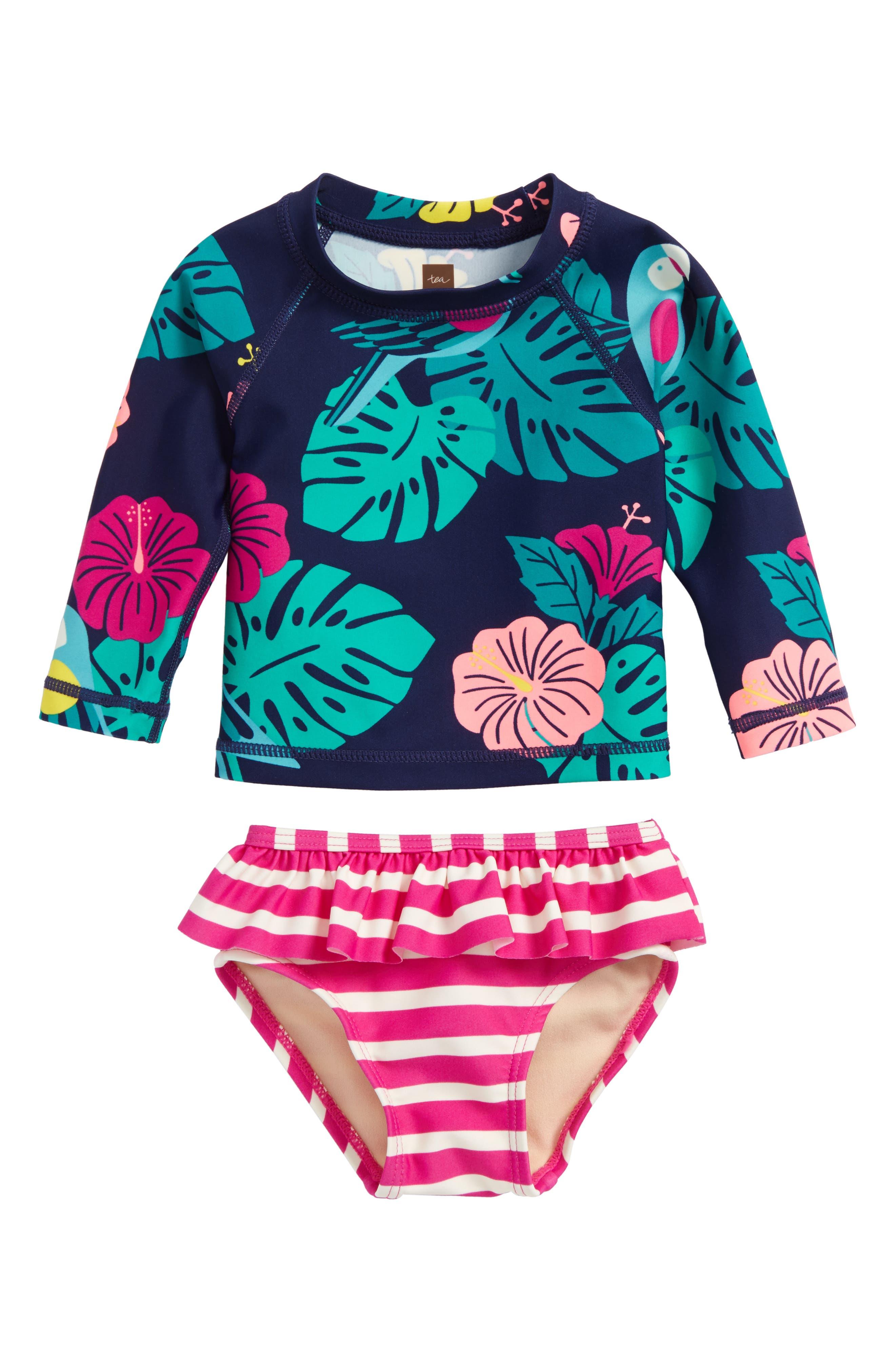 Mixed Print Two-Piece Rashguard Swimsuit,                         Main,                         color,