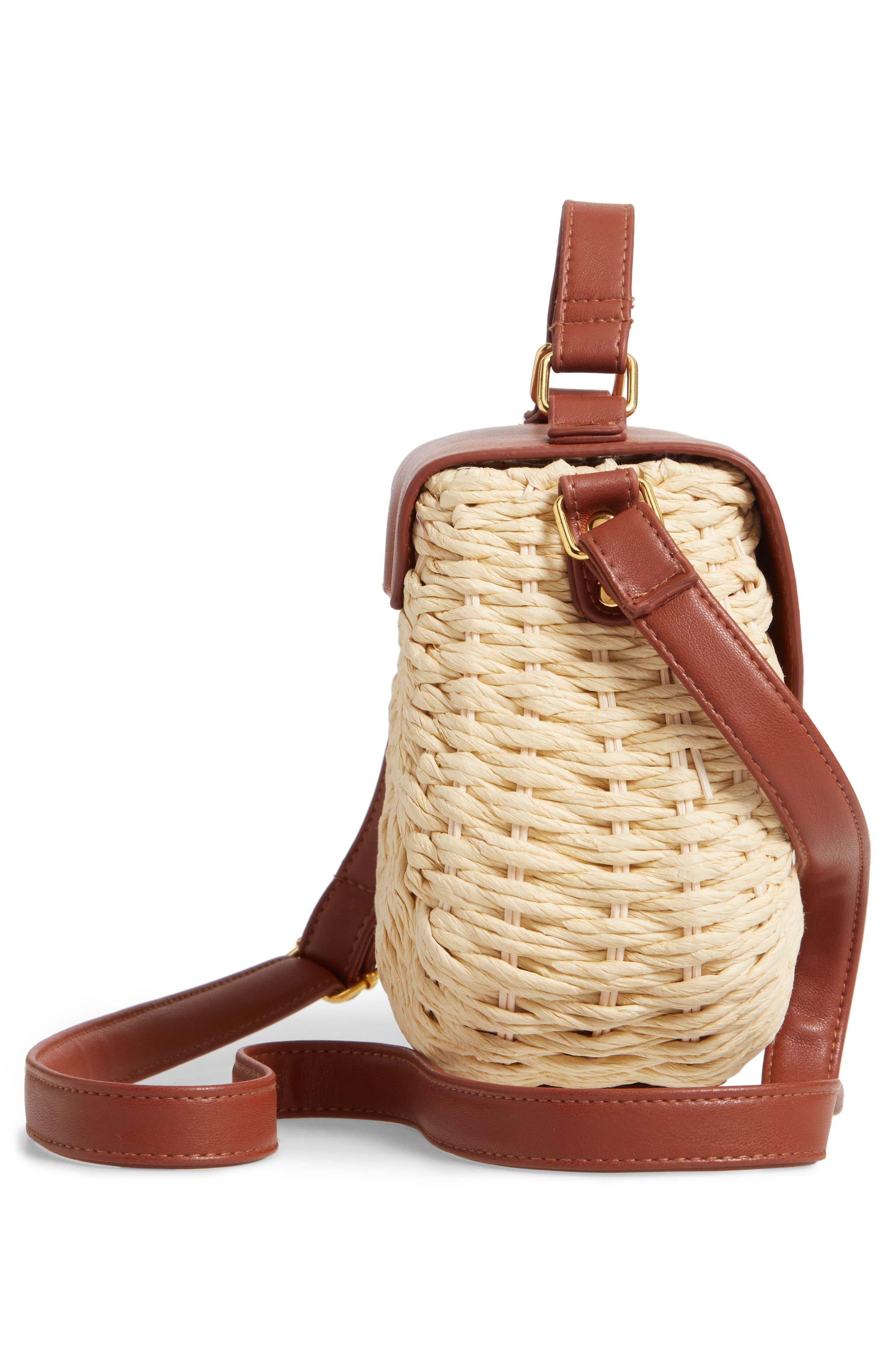 Faux Leather Trim Straw Saddle Bag,                             Alternate thumbnail 5, color,                             NATURAL/ COGNAC