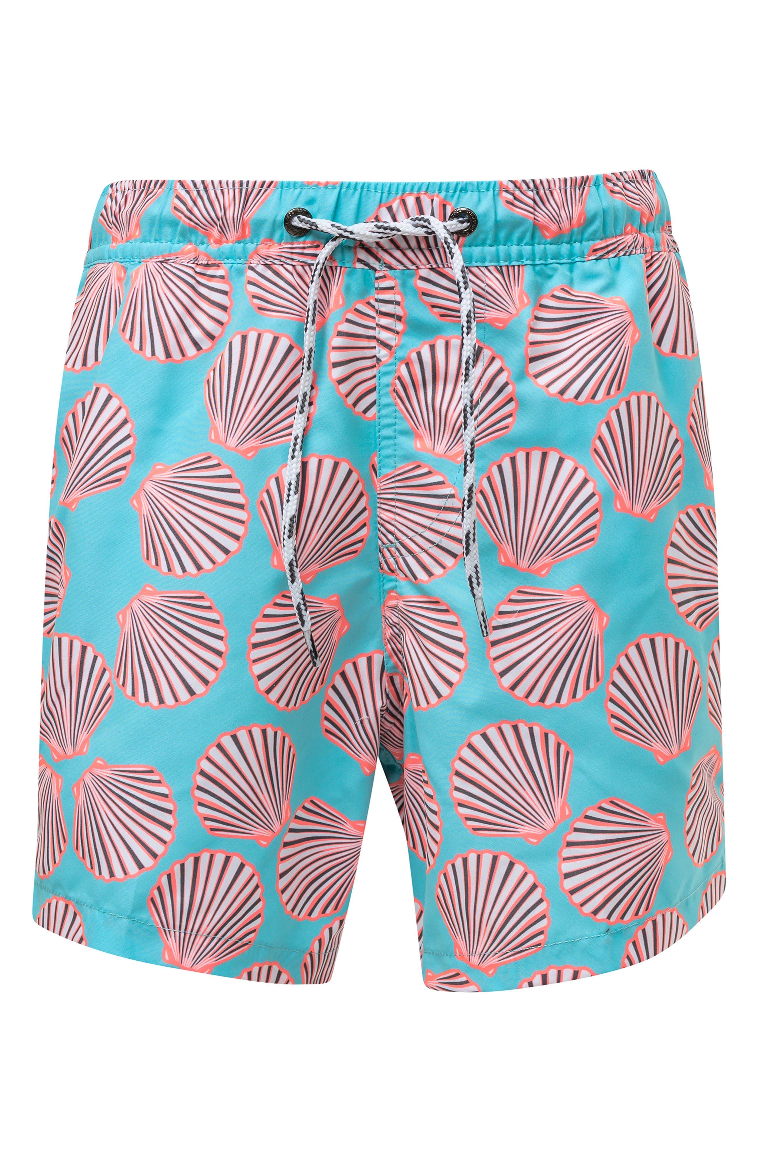 Shell Print Board Shorts,                         Main,                         color, MEDIUM BLUE