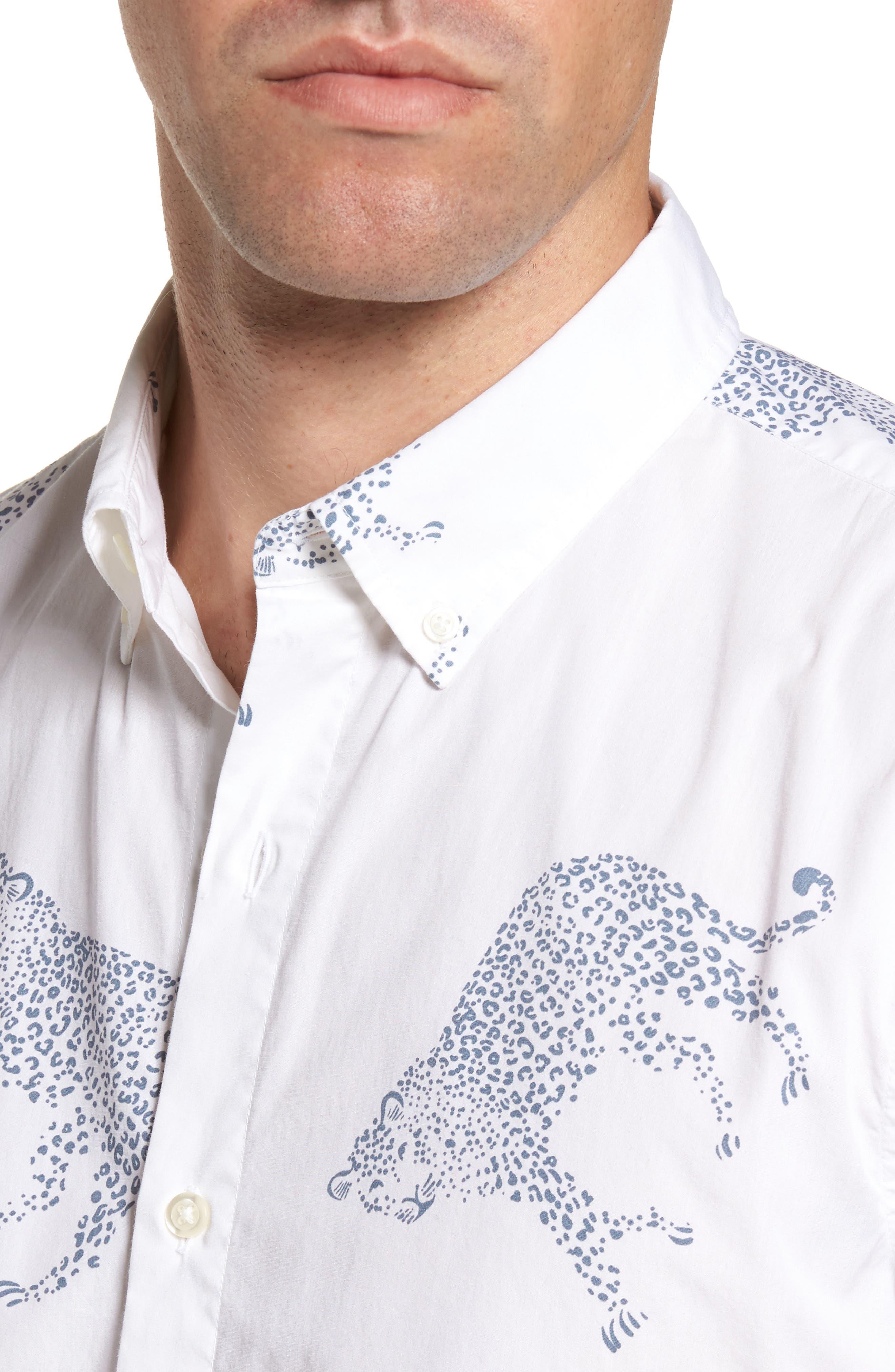 Slim Fit Cheetah Print Sport Shirt,                             Alternate thumbnail 4, color,