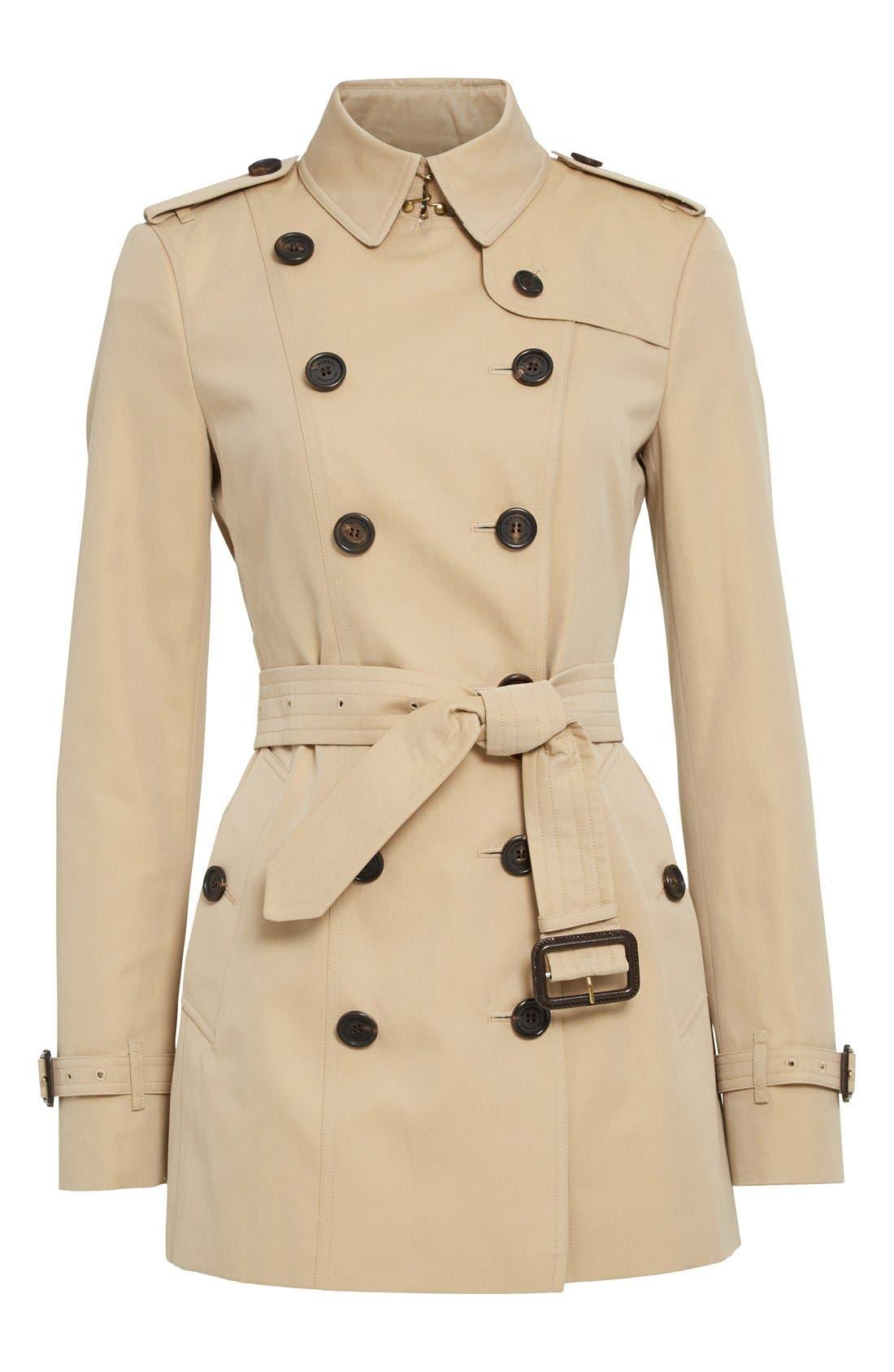 BURBERRY,                             Sandringham Short Slim Trench Coat,                             Alternate thumbnail 6, color,                             HONEY