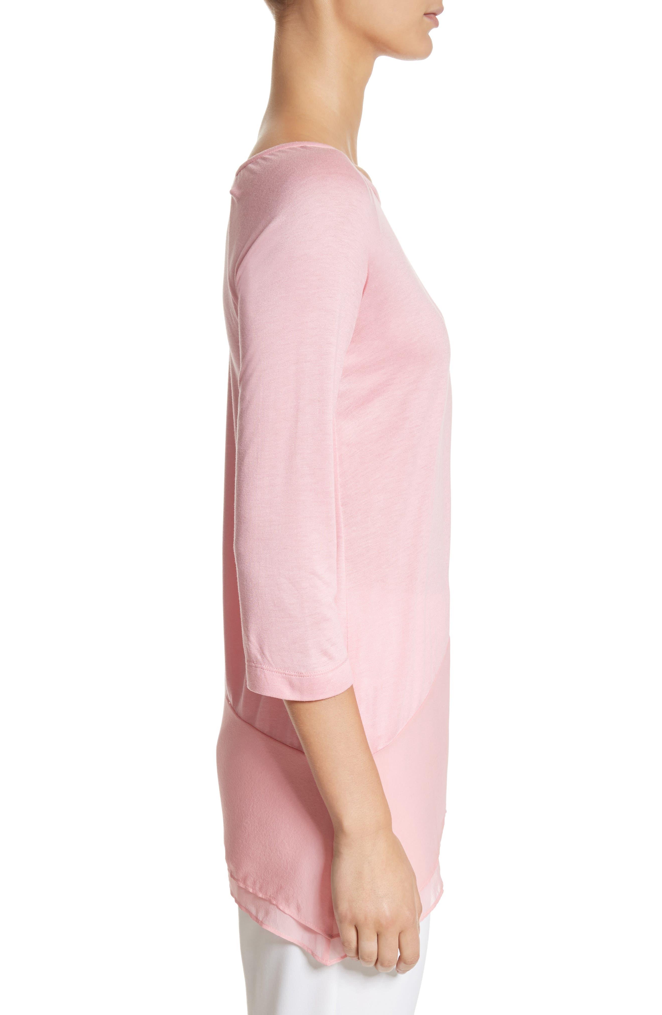 Silk Georgette & Jersey Asymmetrical Blouse,                             Alternate thumbnail 3, color,                             660