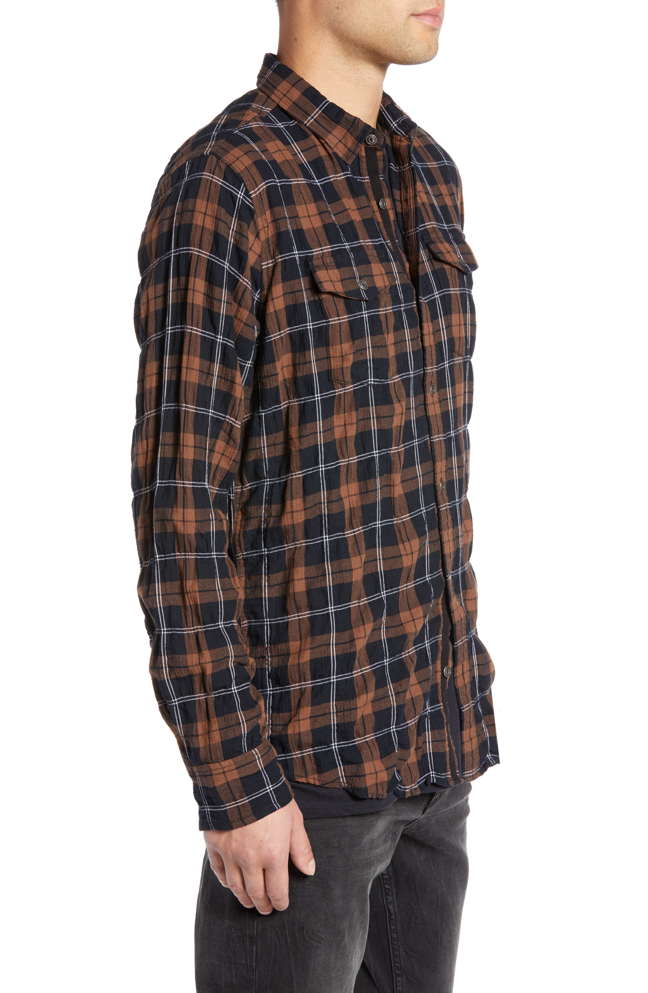 Regular Fit Plaid Sport Shirt,                             Alternate thumbnail 3, color,                             BLACK BROWN SMITH PLAID