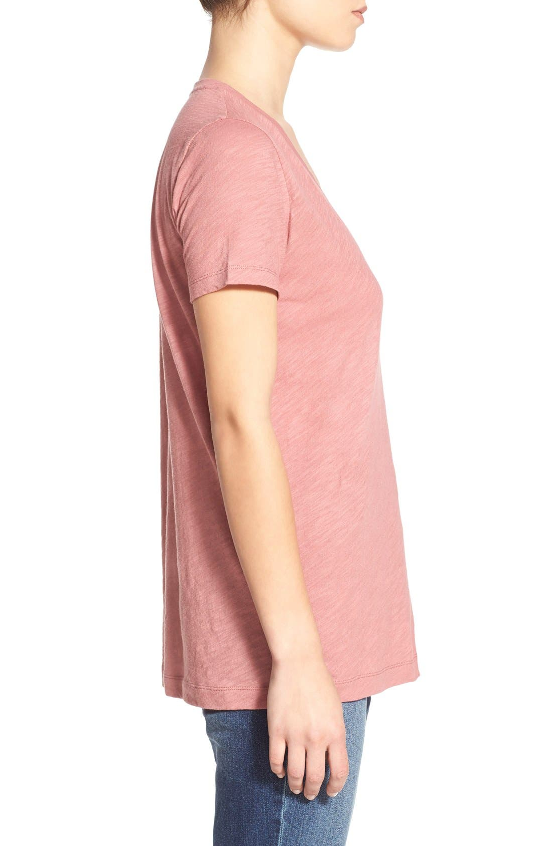 Whisper Cotton V-Neck Pocket Tee,                             Alternate thumbnail 243, color,