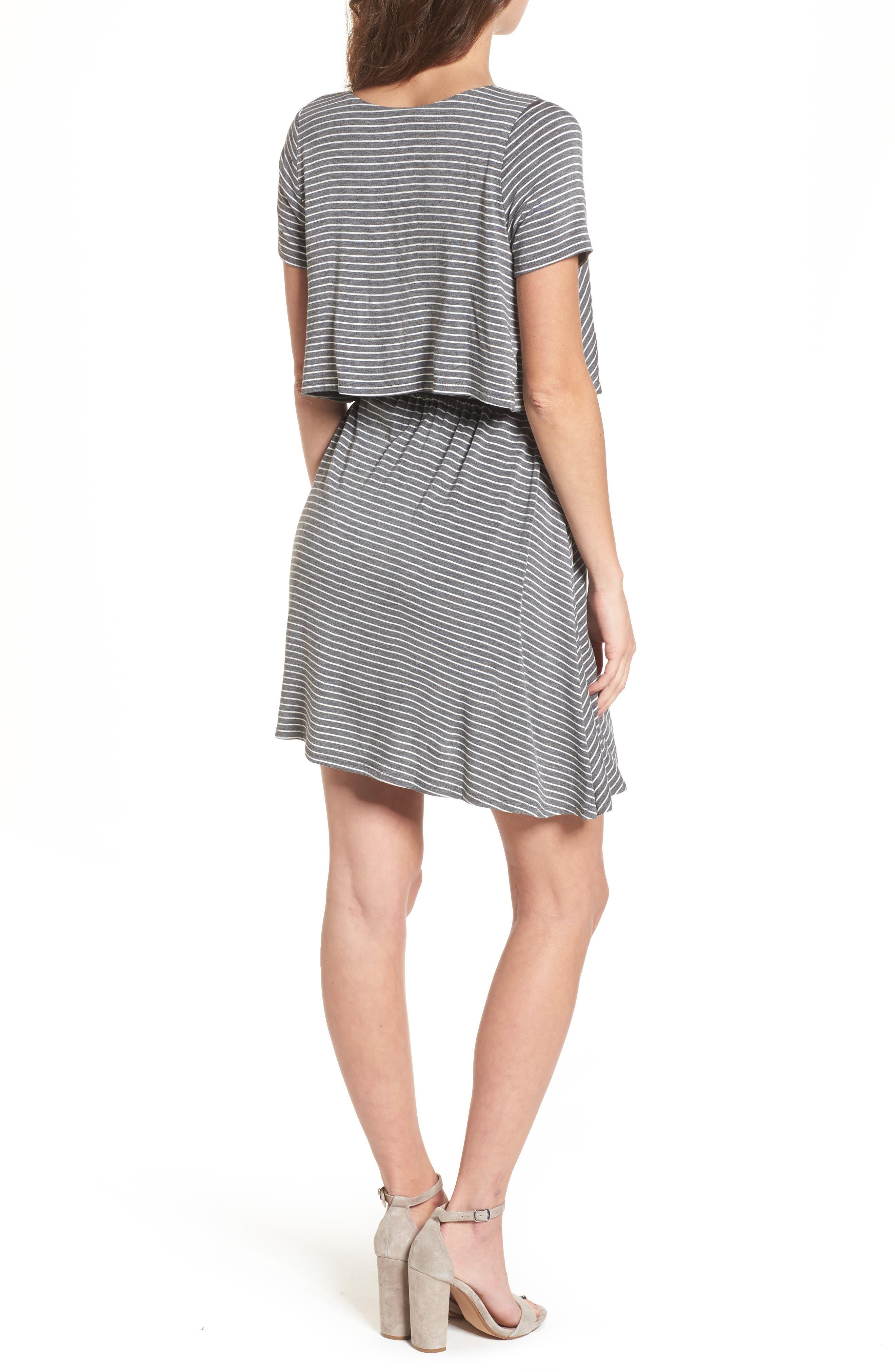 Stripe Flutter Bodice Dress,                             Alternate thumbnail 2, color,                             020