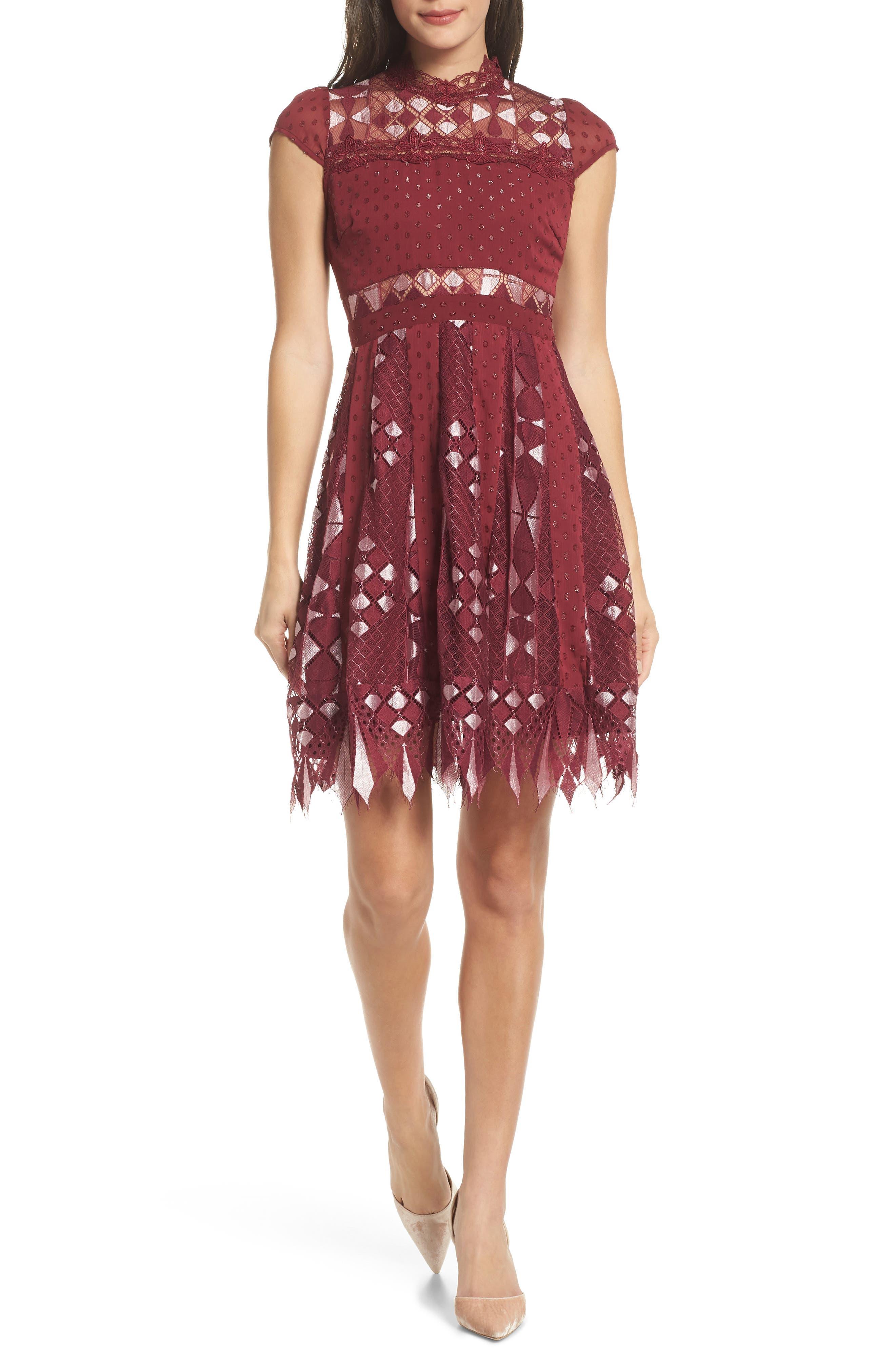 Bravo Zulu Fit & Flare Dress, Main, color, WINE METALLIC