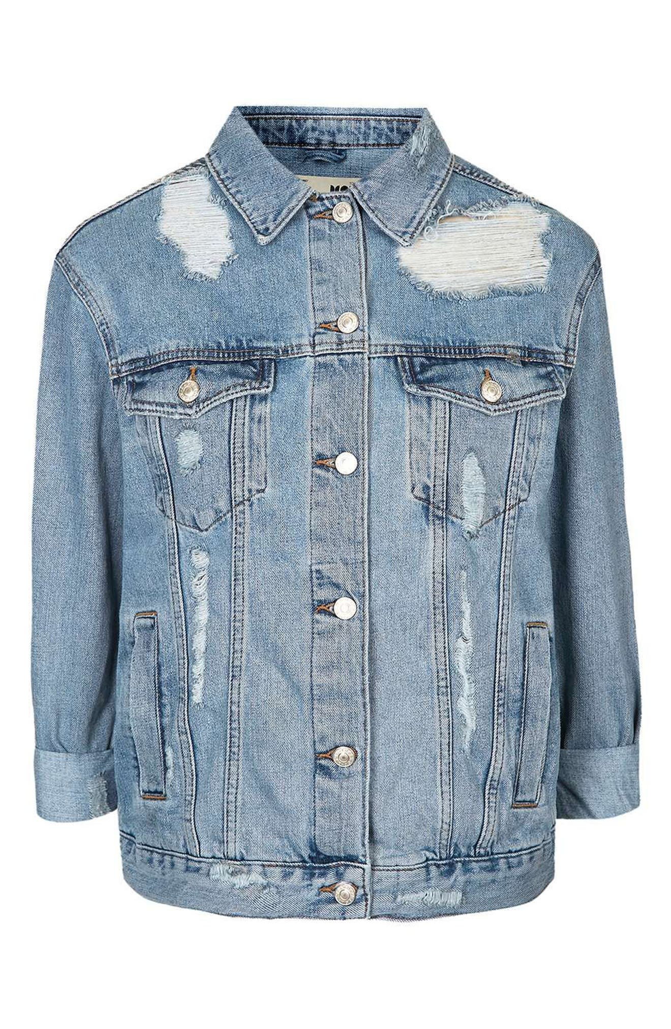 Moto Ripped Oversize Denim Jacket,                             Alternate thumbnail 4, color,                             400