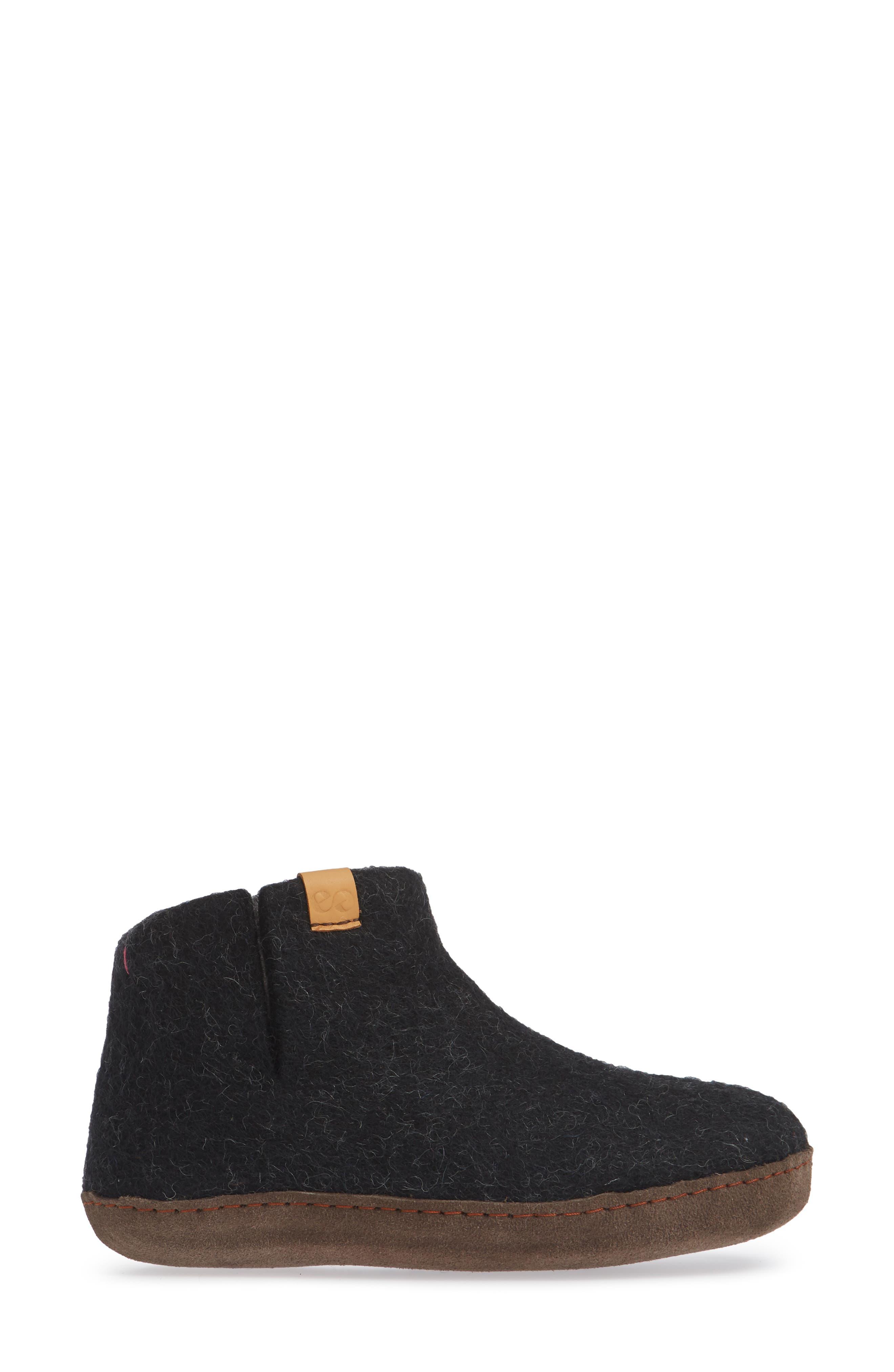 Everest Wool Slipper,                             Alternate thumbnail 3, color,                             BLACK WOOL