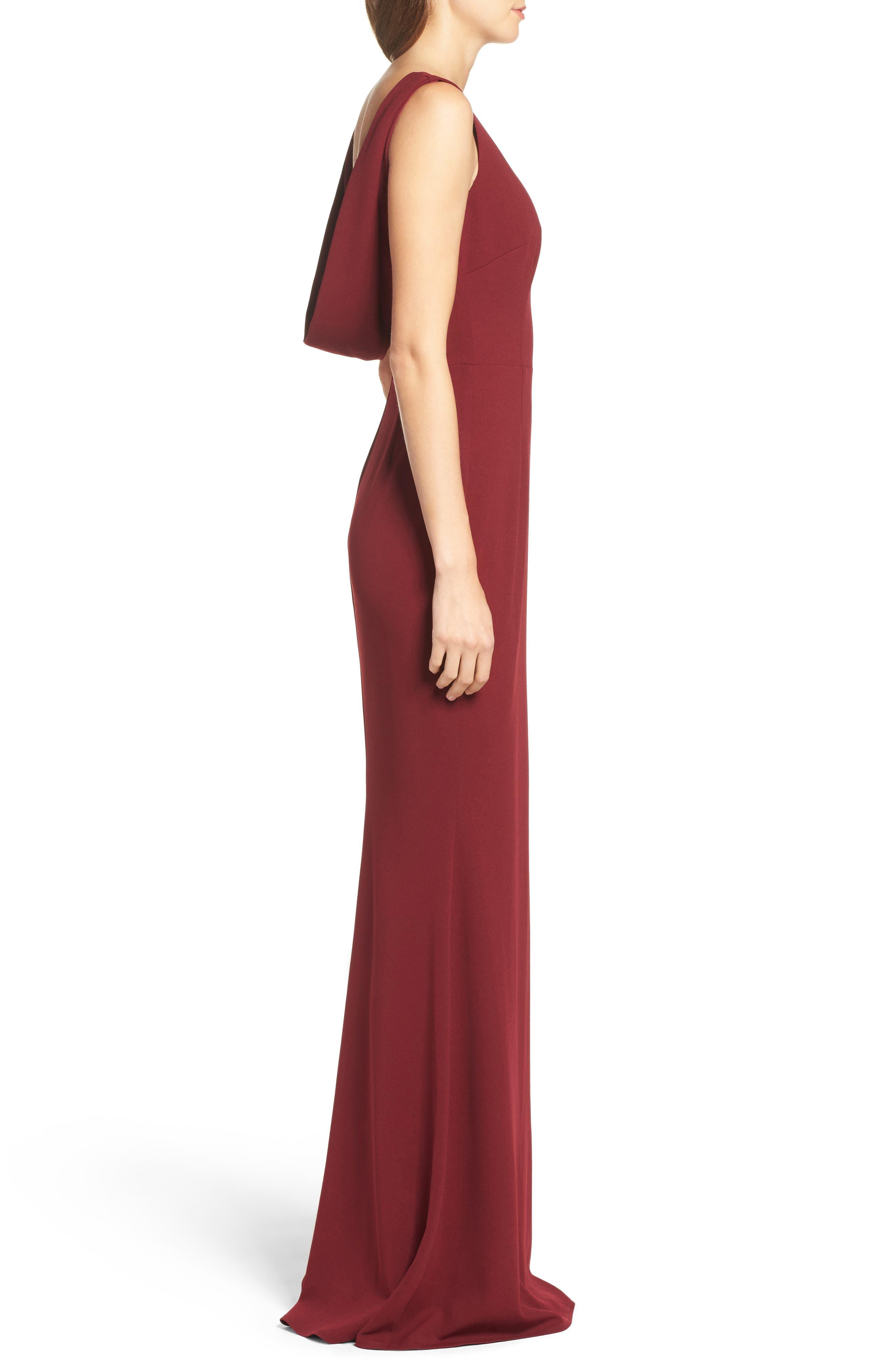 Vionnet Drape Back Crepe Gown,                             Alternate thumbnail 3, color,                             BORDEAUX