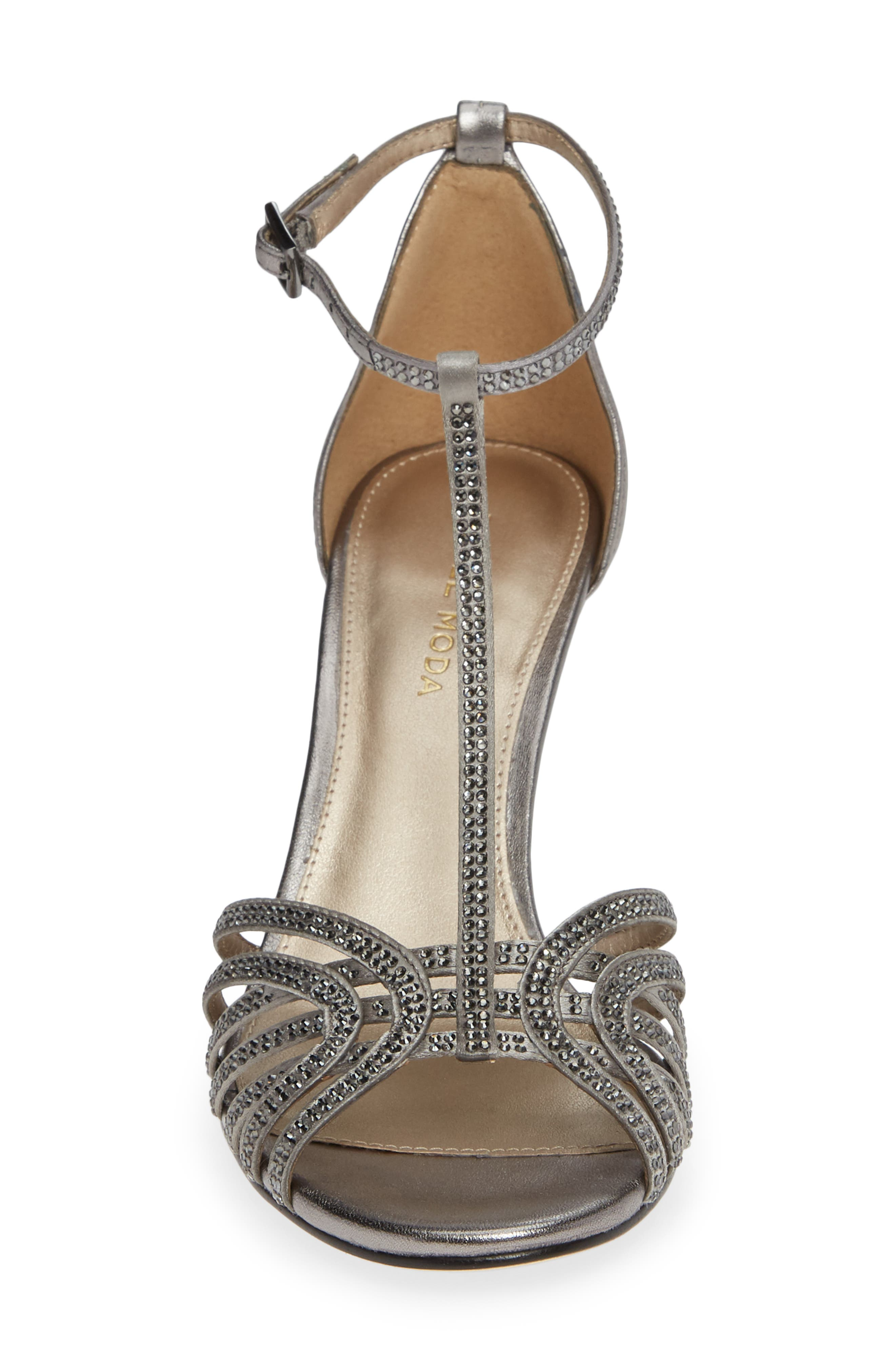 Rochell Crystal Embellished Sandal,                             Alternate thumbnail 4, color,                             PEWTER FABRIC