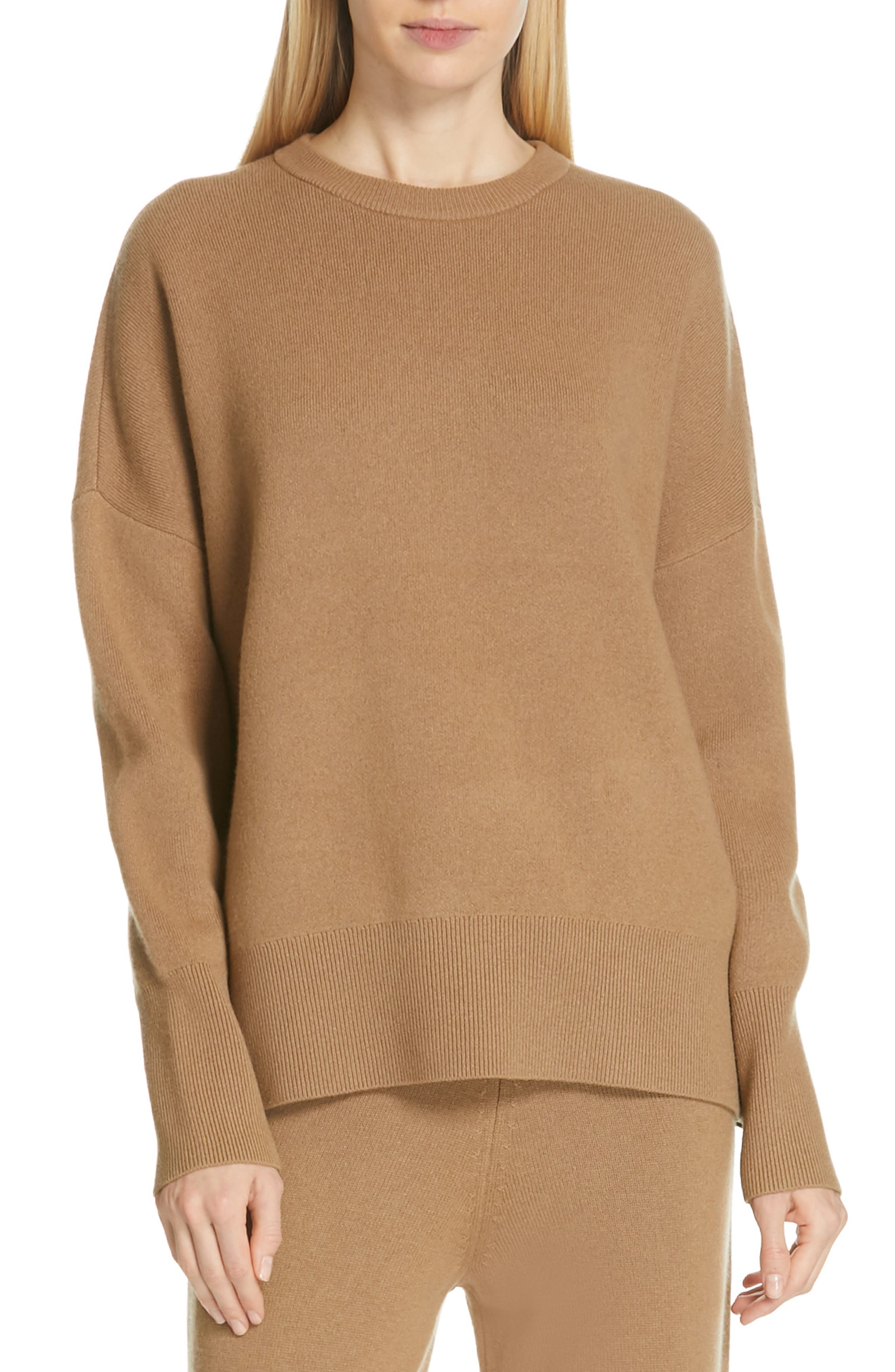 Relaxed Drop Shoulder Wool & Cashmere Sweater, Main, color, 280