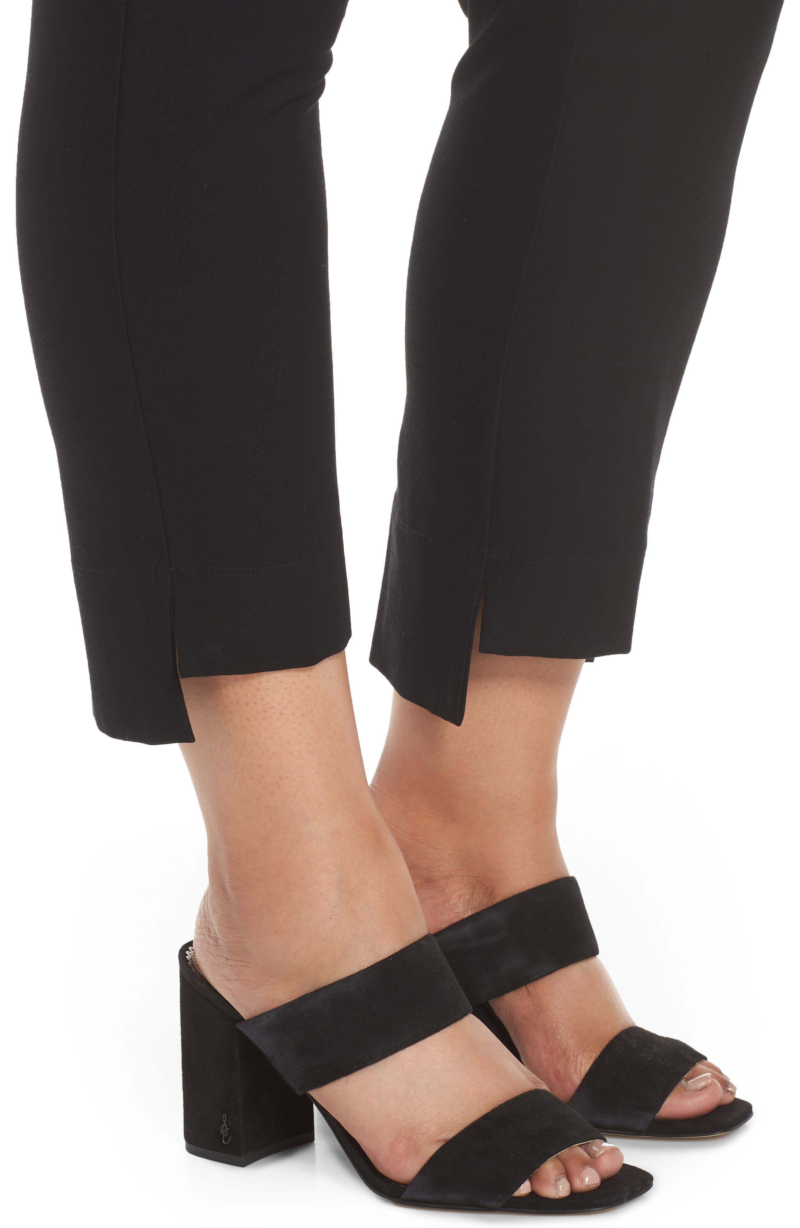 Slim Fit Crop Pants,                             Alternate thumbnail 4, color,                             BLACK