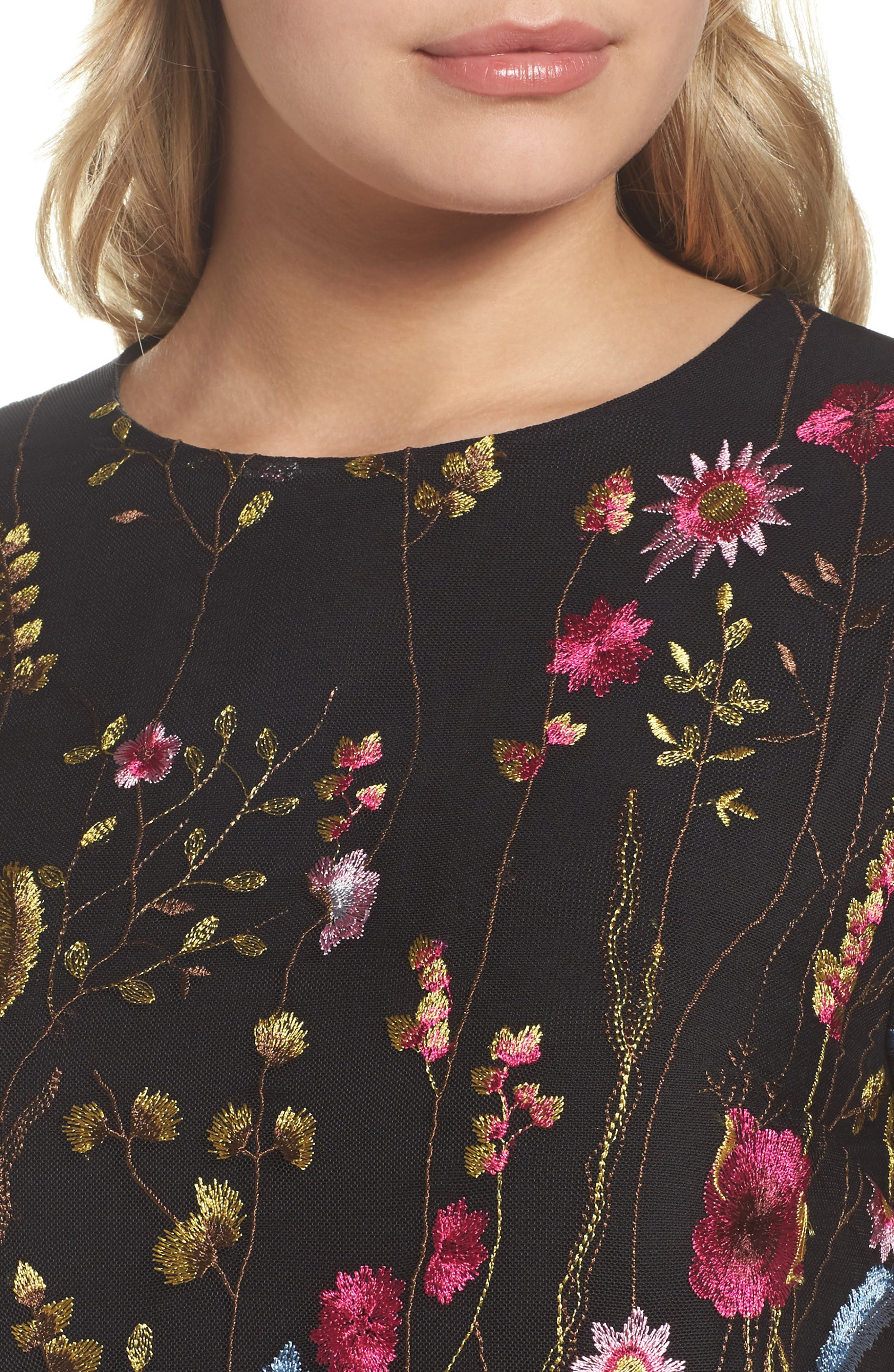 Rose Embroidered Shift Dress,                             Alternate thumbnail 4, color,                             429