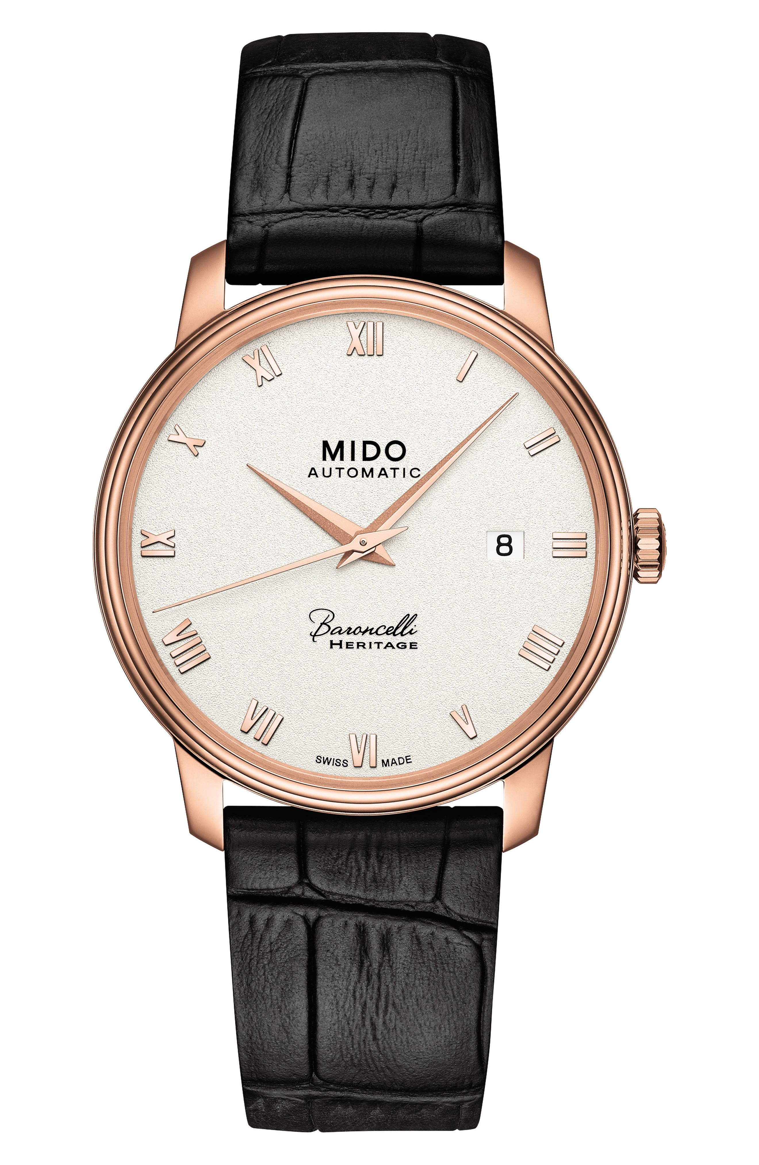 Baroncelli Heritage Automatic Leather Strap Watch, 39mm,                         Main,                         color, BLACK/ BEIGE/ ROSE GOLD
