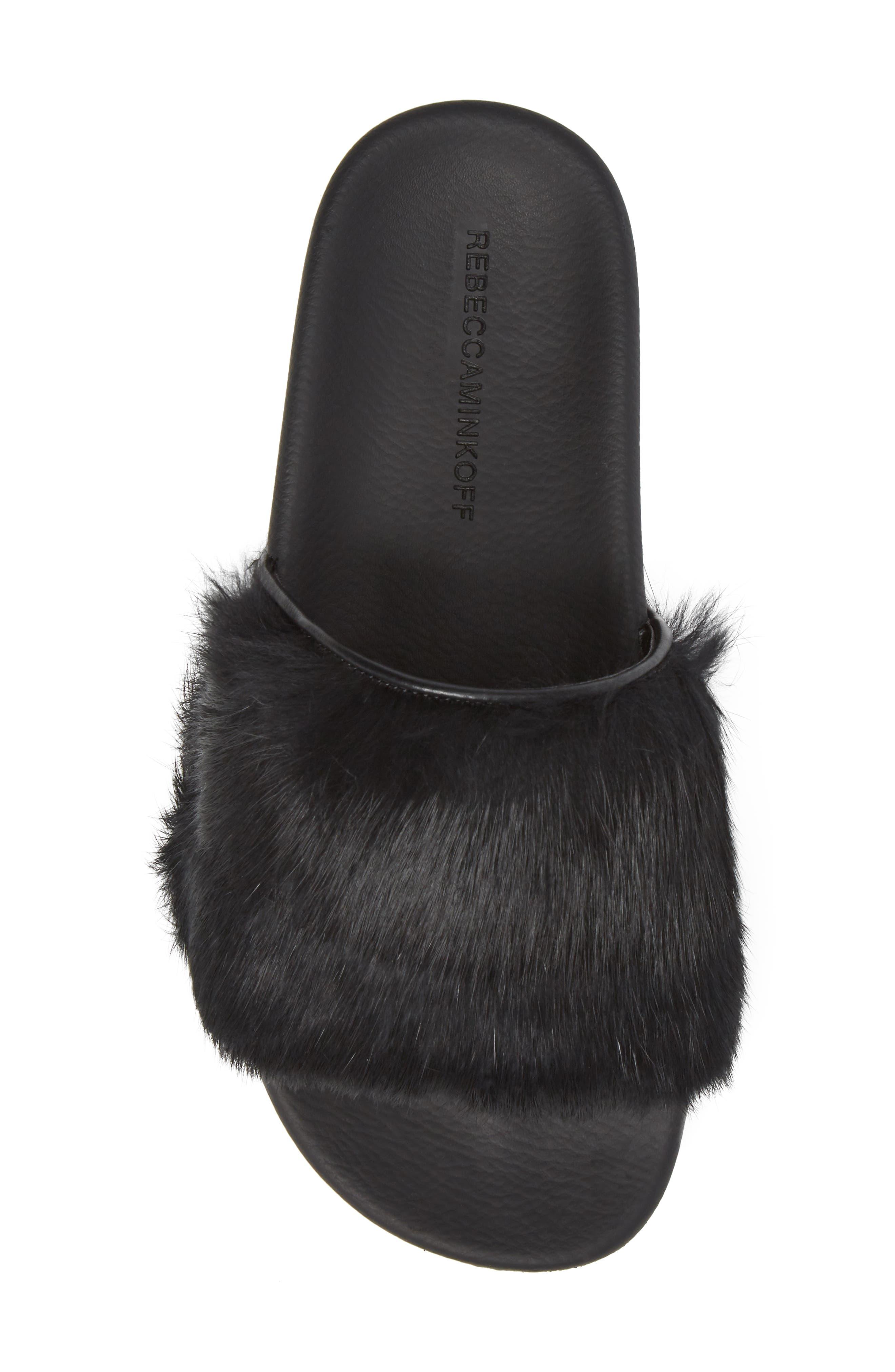 Sammi Genuine Fur Slide Sandal,                             Alternate thumbnail 5, color,                             001