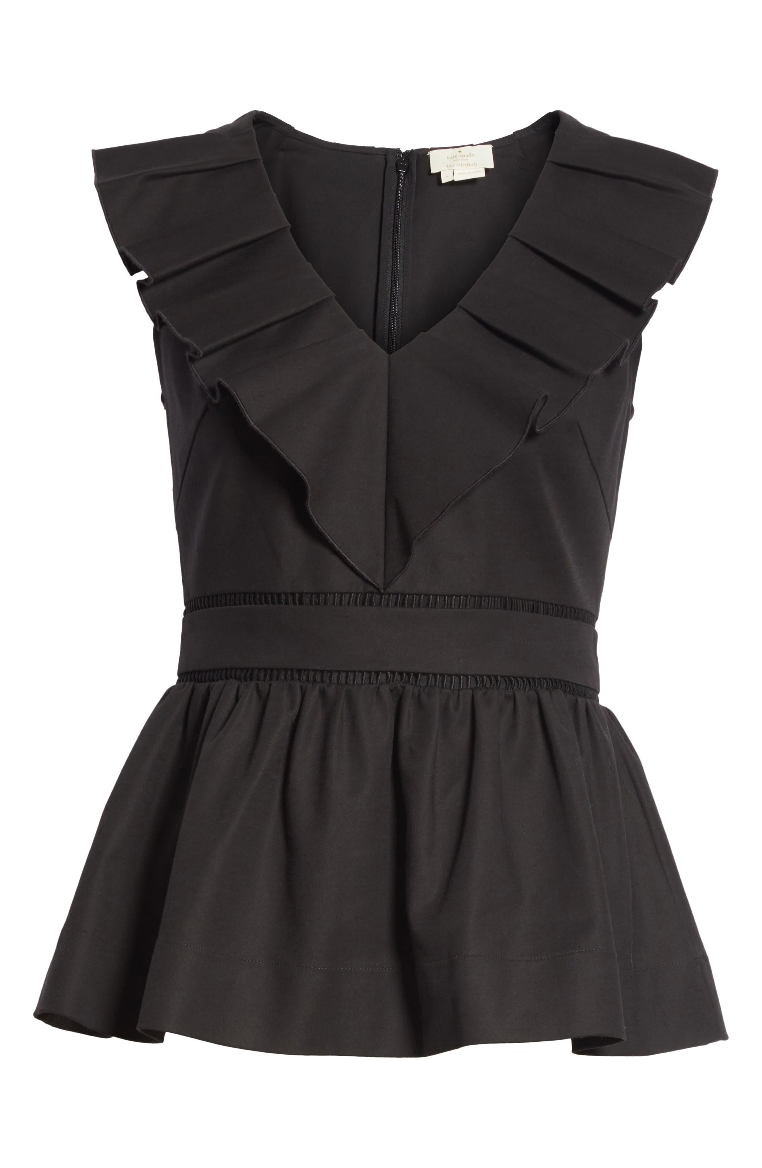 ruffle neck stretch cotton peplum blouse,                             Alternate thumbnail 11, color,