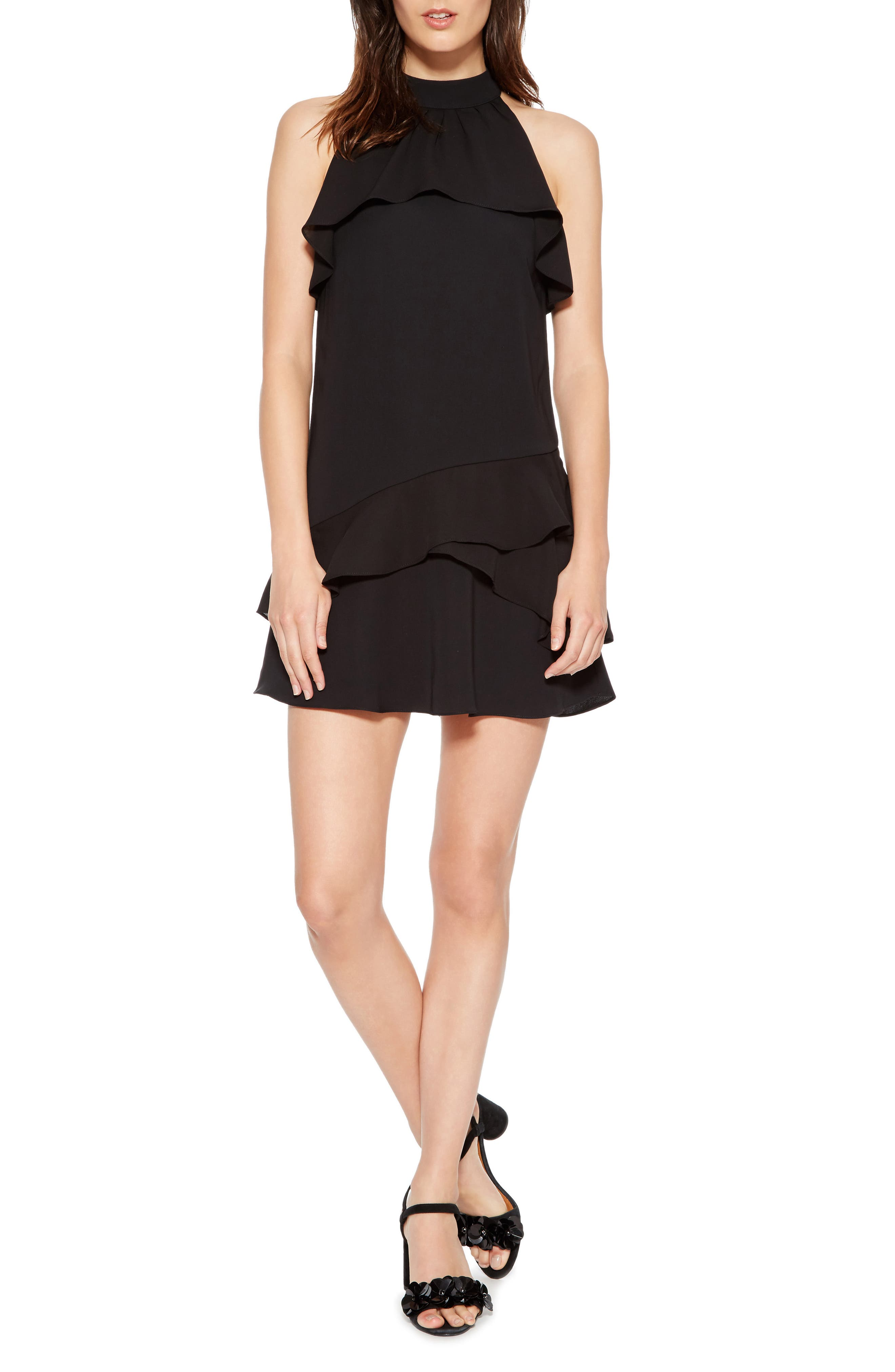 Serafina Combo Dress,                             Main thumbnail 1, color,                             BLACK