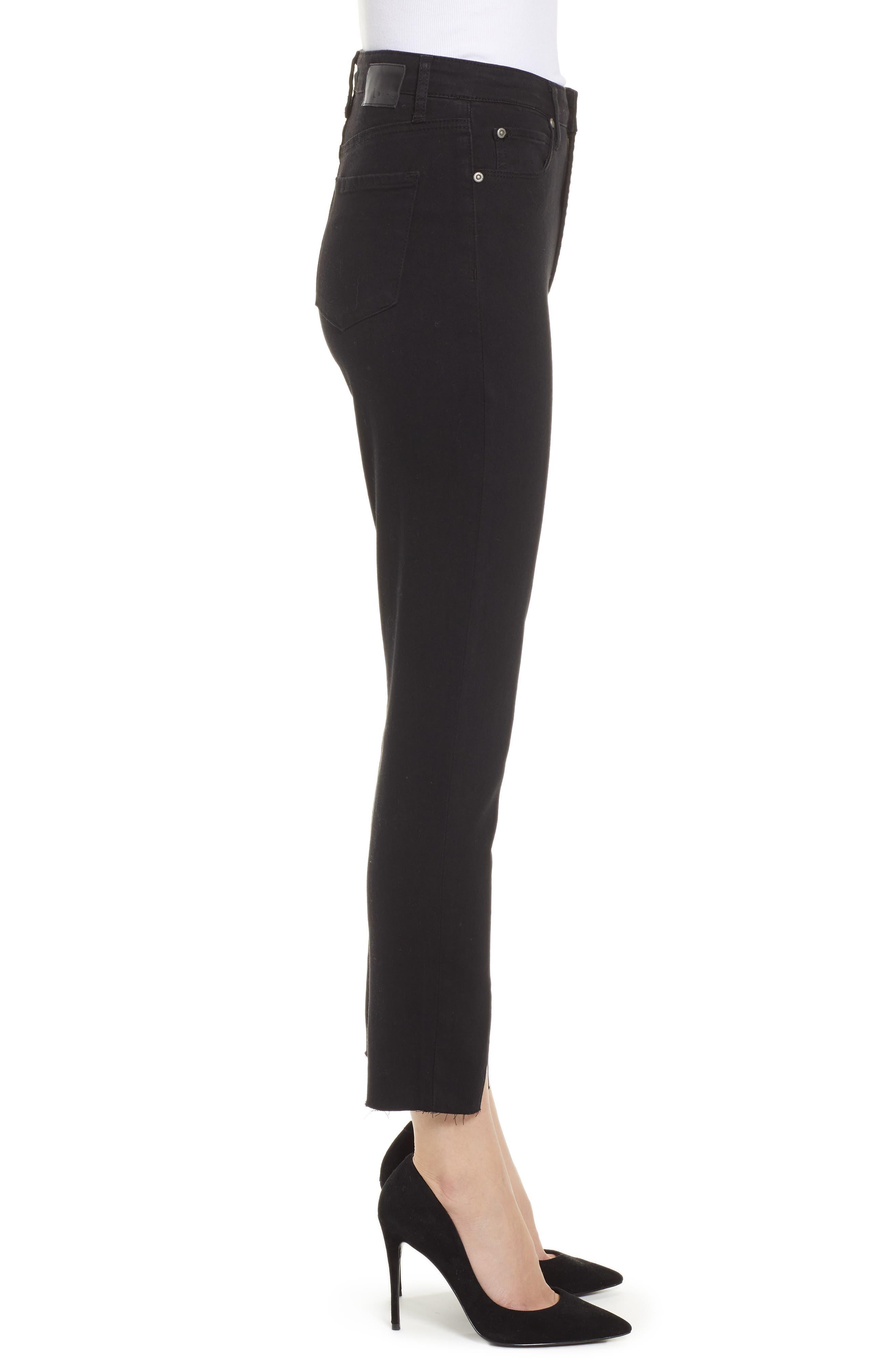 LEITH,                             High Waist Split Hem Skinny Jeans,                             Alternate thumbnail 3, color,                             001