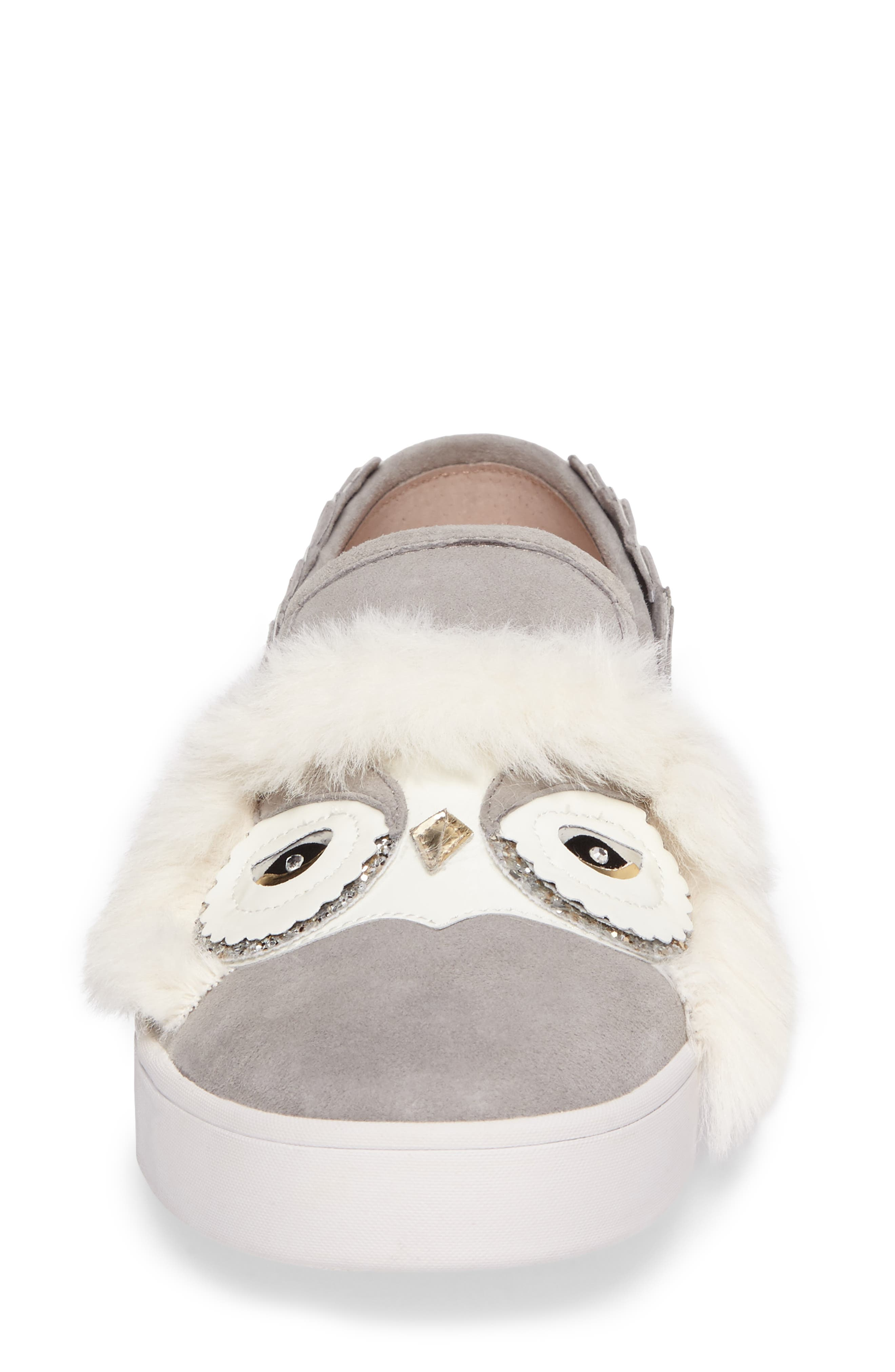 leferts faux fur trim slip-on sneaker,                             Alternate thumbnail 4, color,                             020