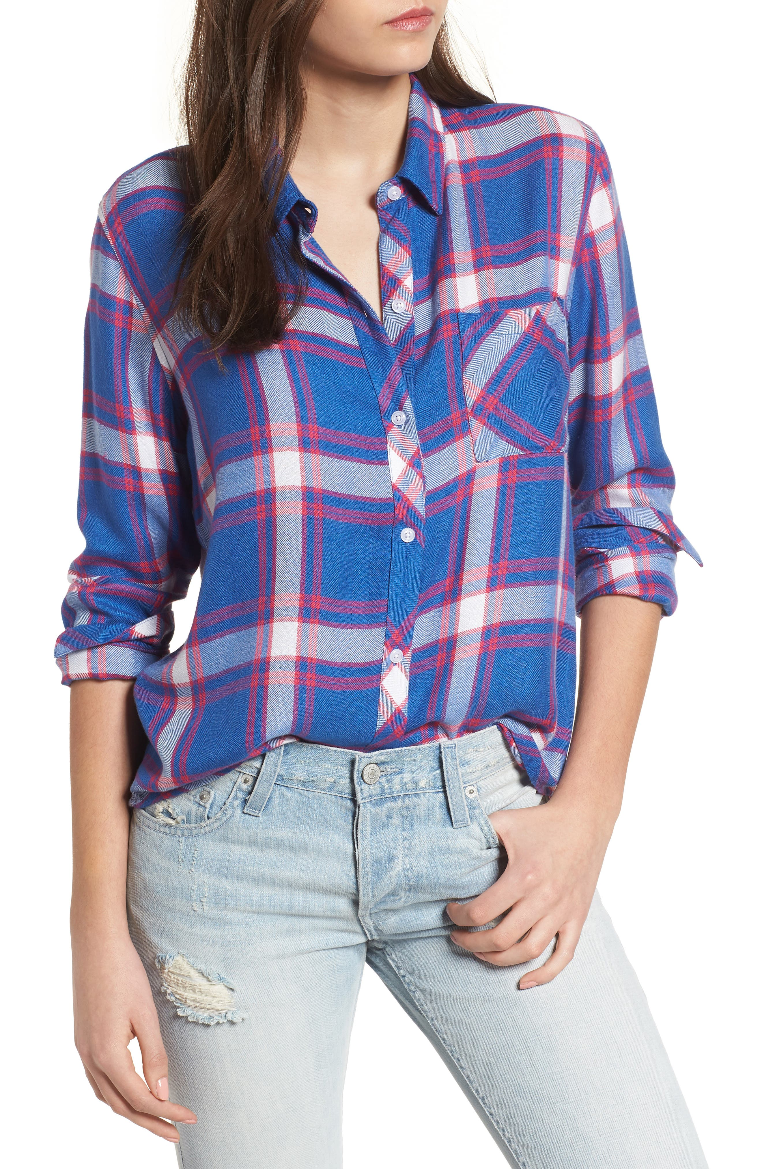 Hunter Plaid Shirt,                             Main thumbnail 1, color,                             RUBY SKY WHITE