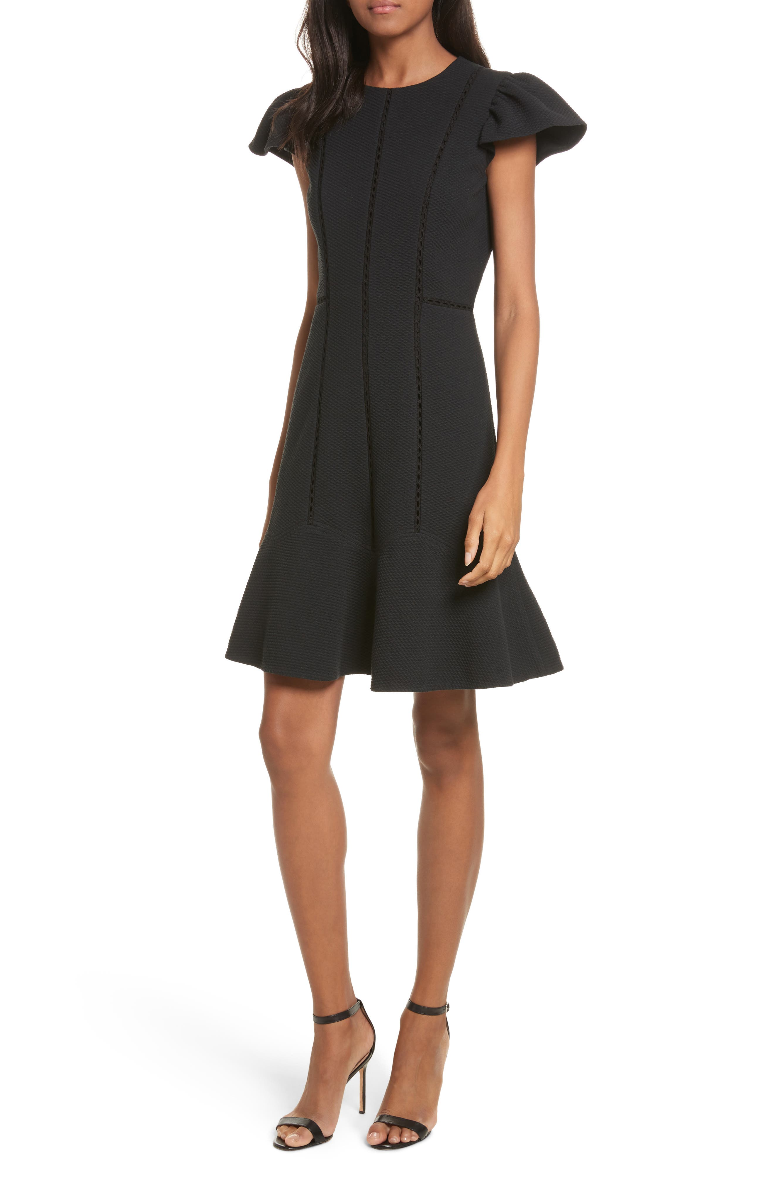 Textured Stretch Fit & Flare Dress,                             Main thumbnail 1, color,