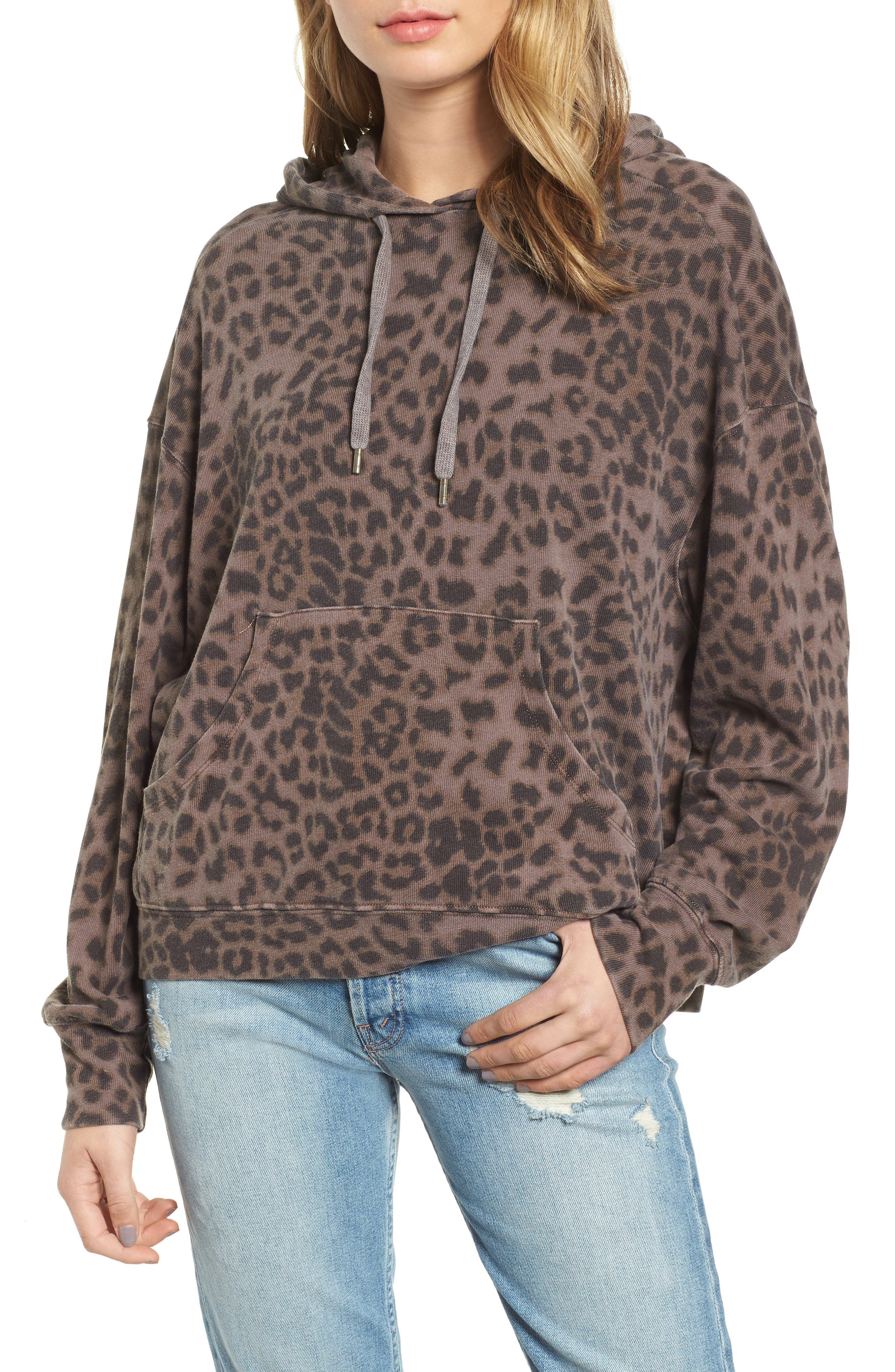 Leopard Spot Crop Hoodie,                             Main thumbnail 1, color,                             200