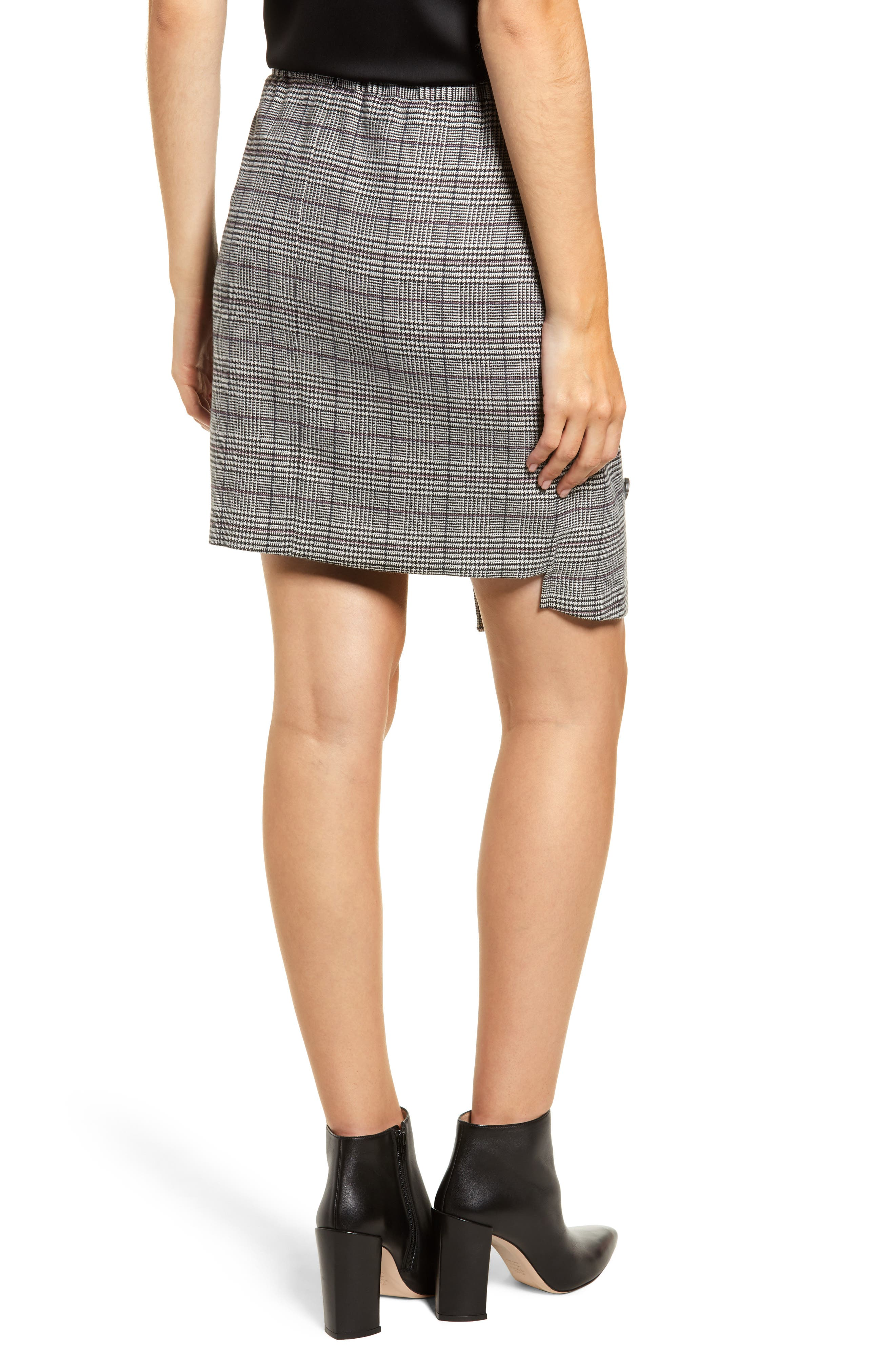 Chriselle Lim Bianca Houndstooth Button Front Skirt,                             Alternate thumbnail 3, color,                             GREY PLAID
