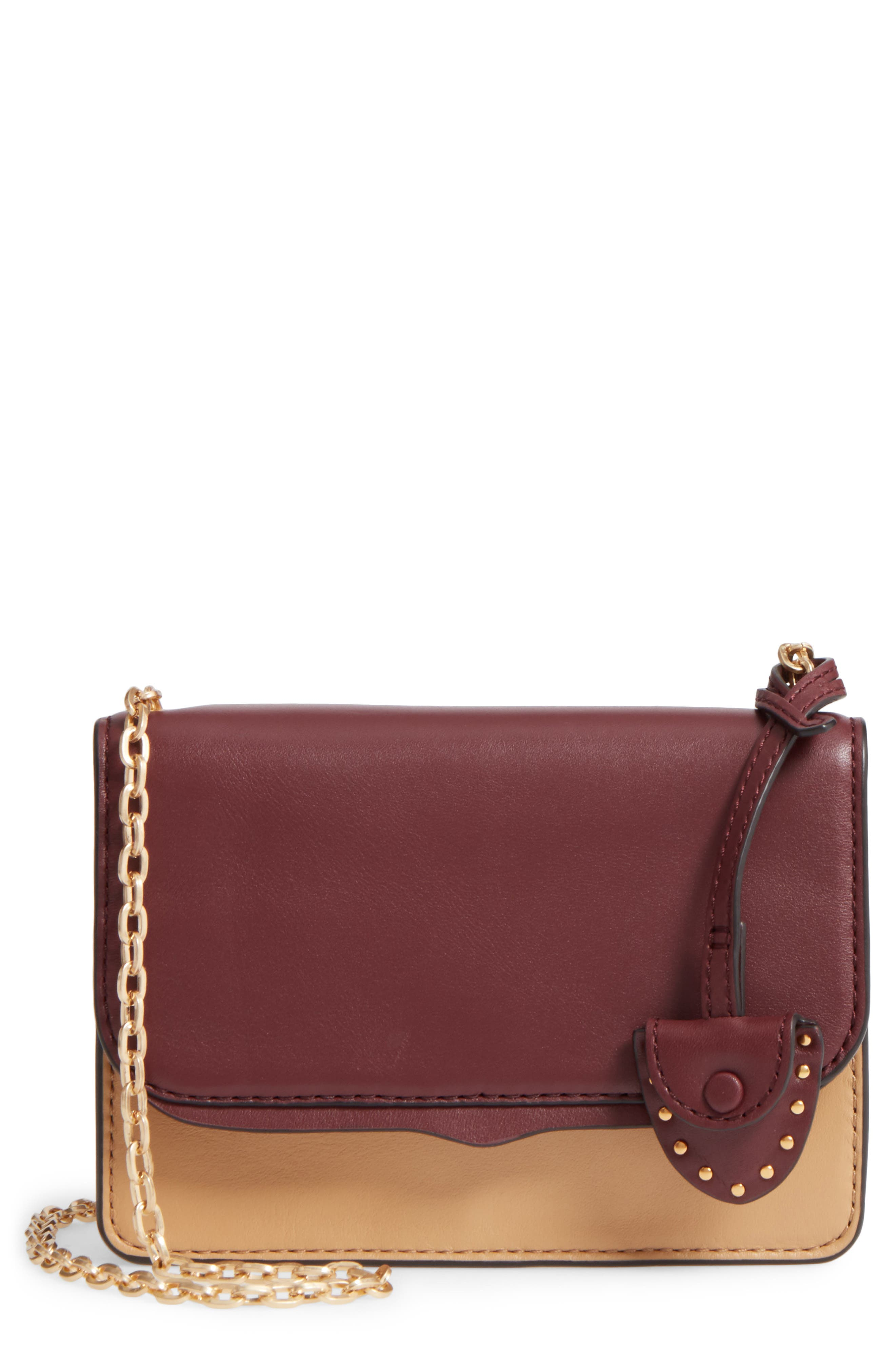 Mini Chain Leather Crossbody Bag,                         Main,                         color, 600