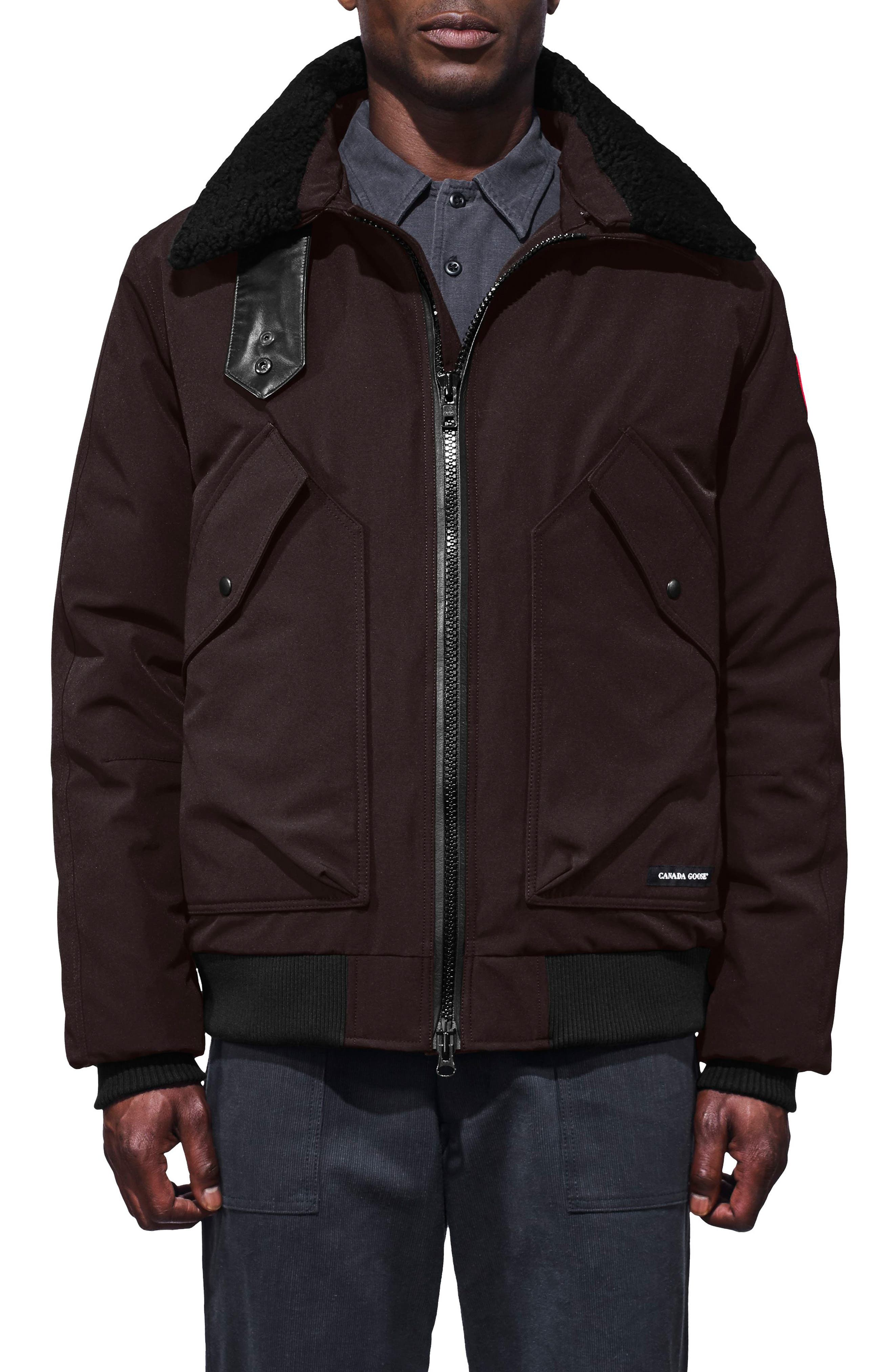 Canada Goose Bromley Slim Fit Down Bomber Jacket With Genuine Shearling Collar, Brown