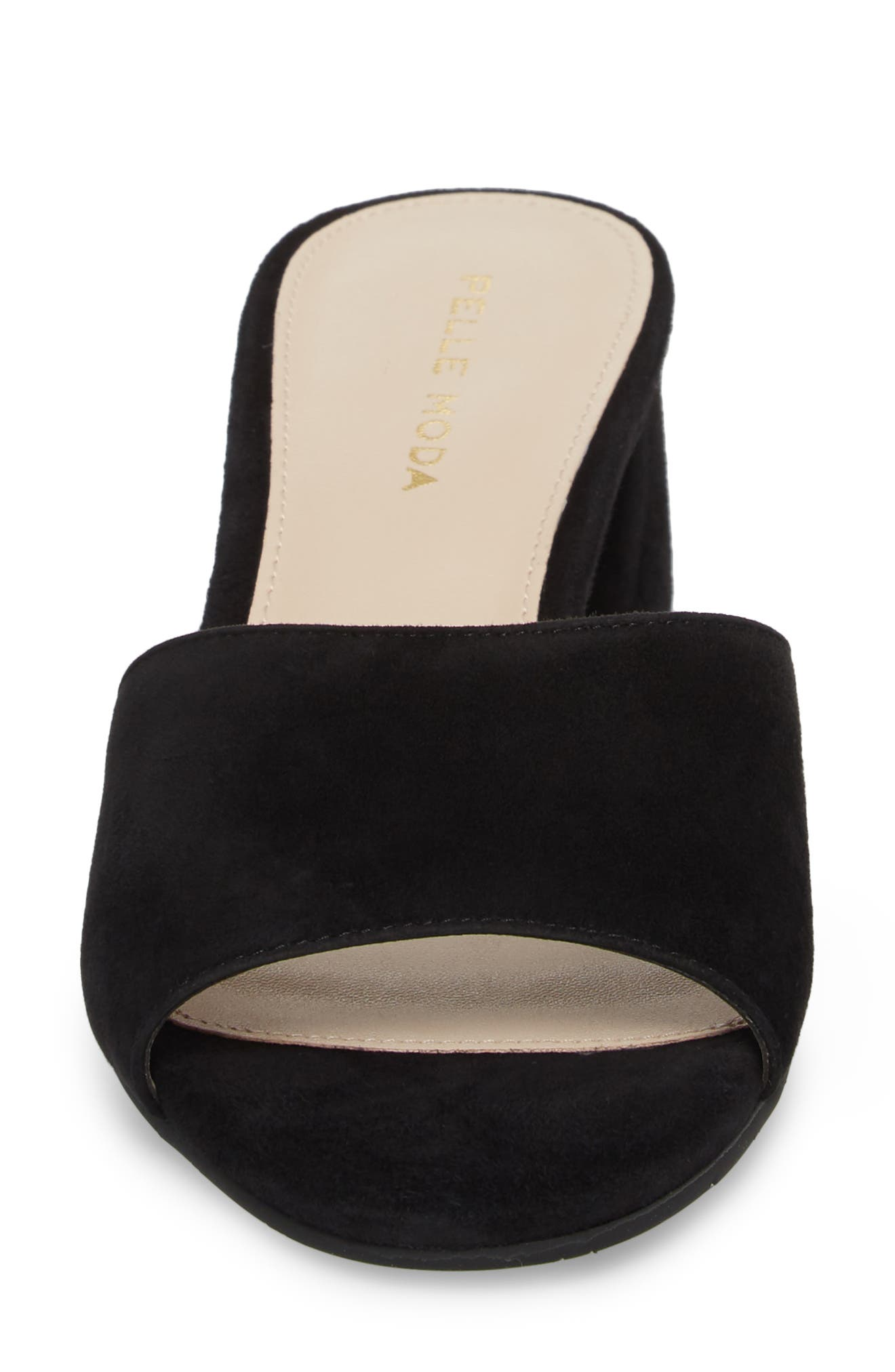 Rea Block Heel Slide,                             Alternate thumbnail 4, color,                             BLACK SUEDE