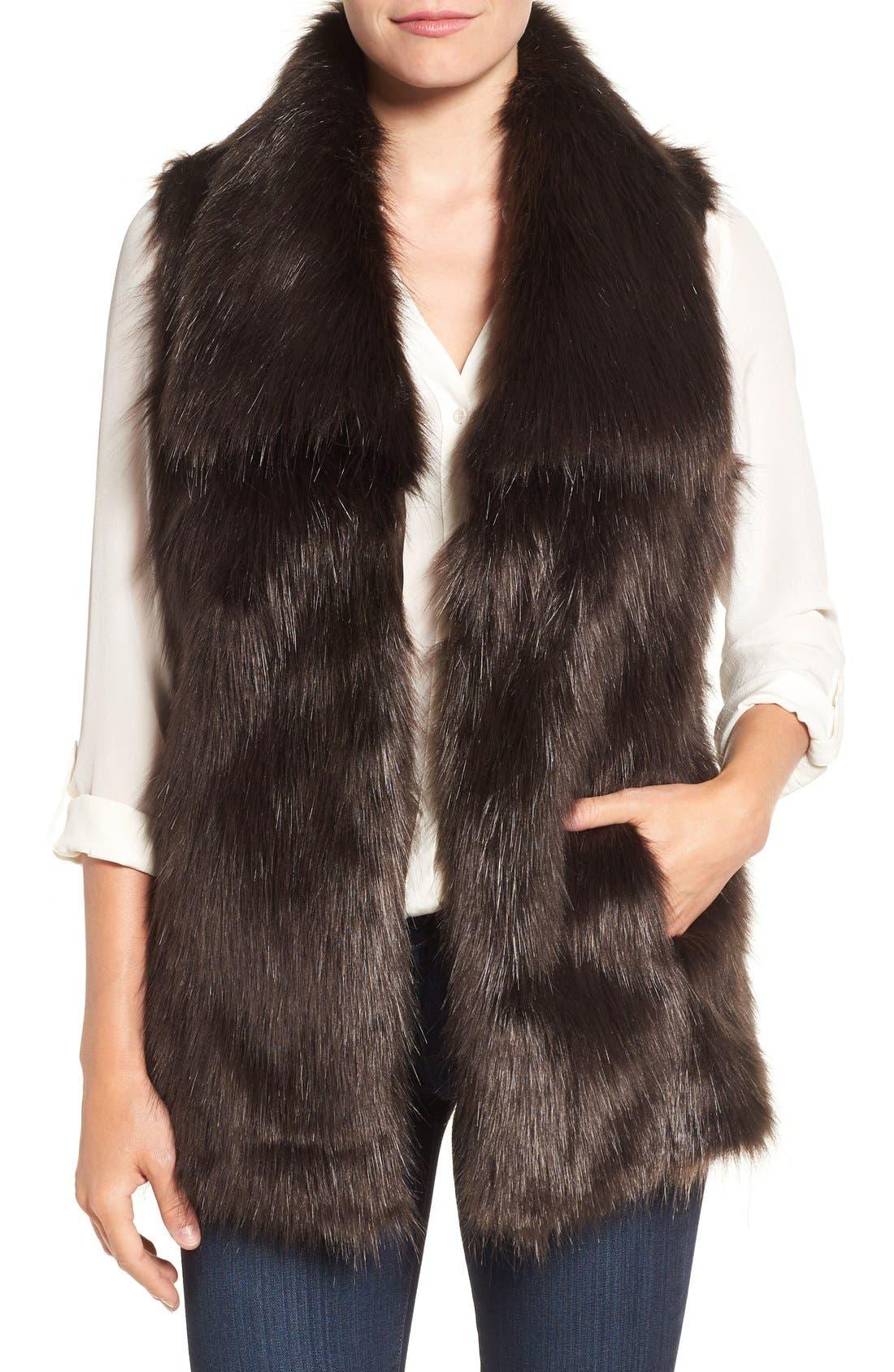 Faux Fur Vest,                             Main thumbnail 4, color,