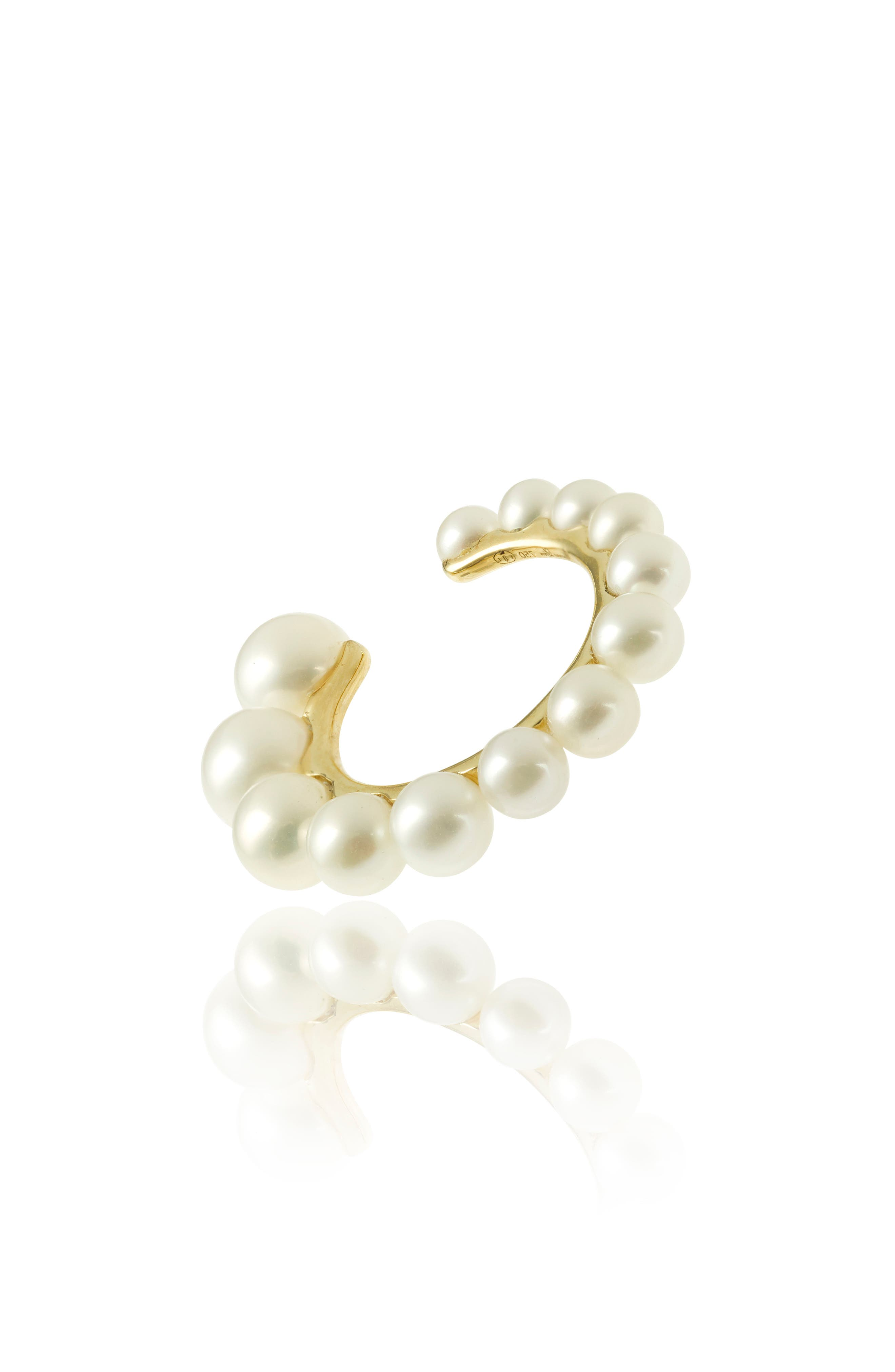 YVONNE LÉON Freshwater Pearl Ear Cuff, Main, color, YELLOW GOLD
