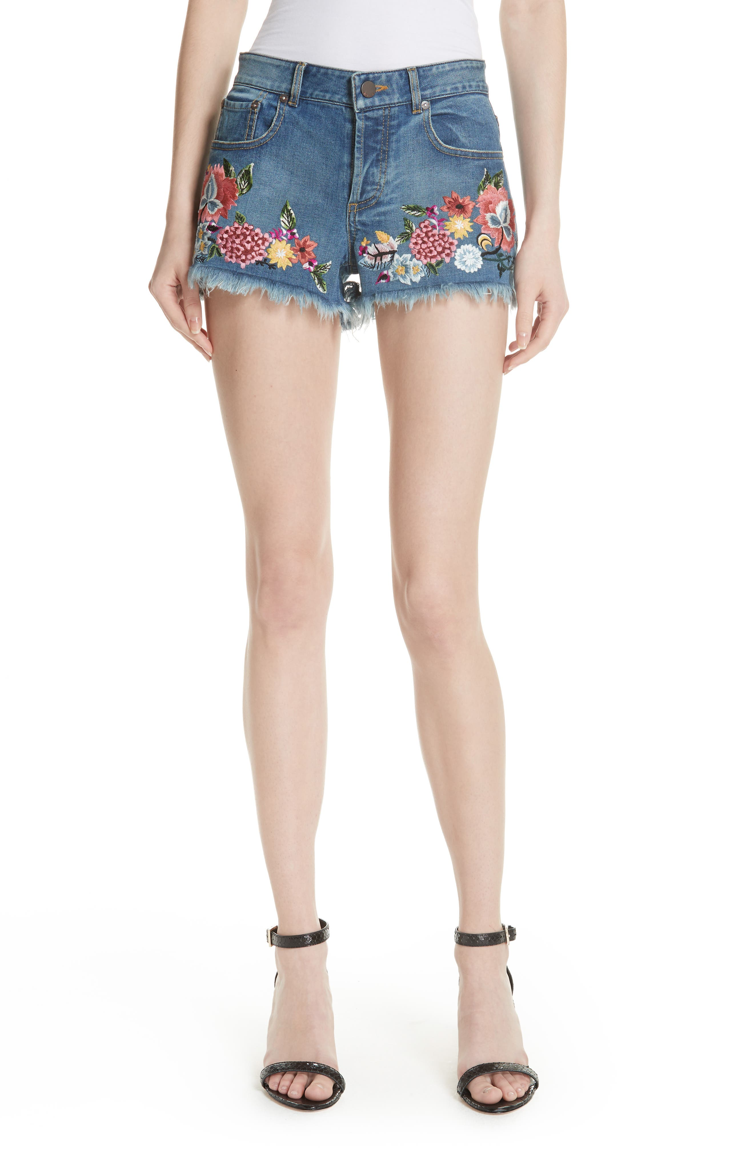 ALICE + OLIVIA JEANS Embroidered Denim Shorts, Main, color, 460