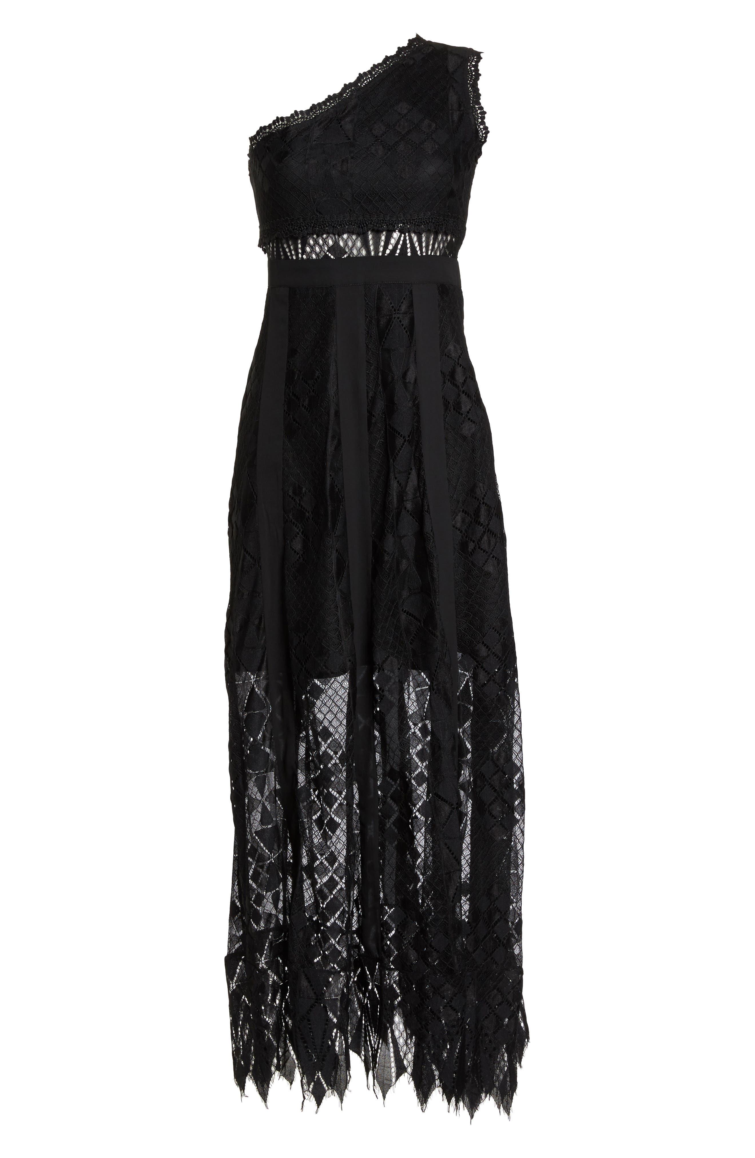 Juliet One-Shoulder Lace Gown,                             Alternate thumbnail 7, color,                             BLACK/ BLACK