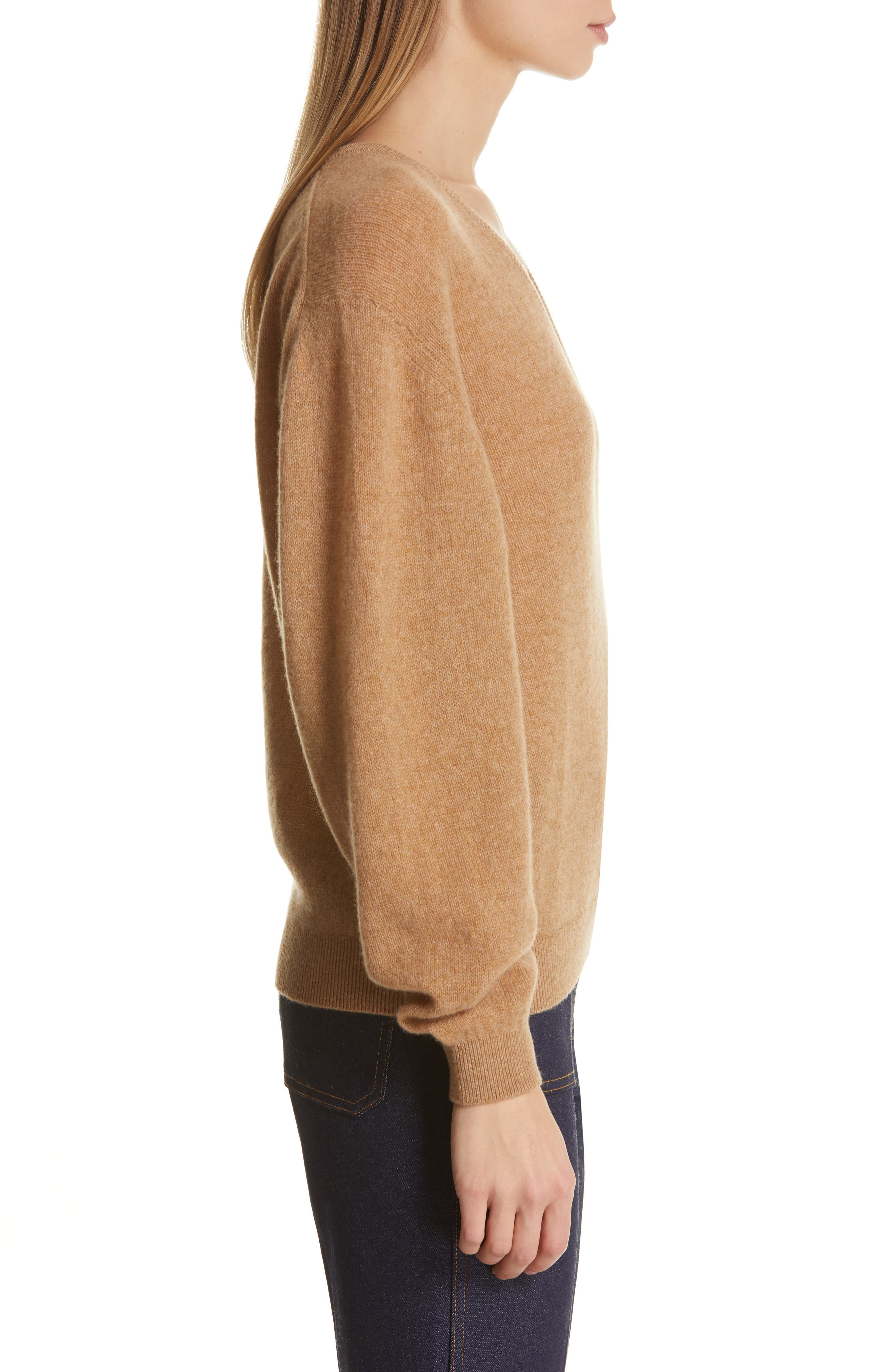 KHAITE,                             Sam Cashmere Sweater,                             Alternate thumbnail 3, color,                             CAMEL
