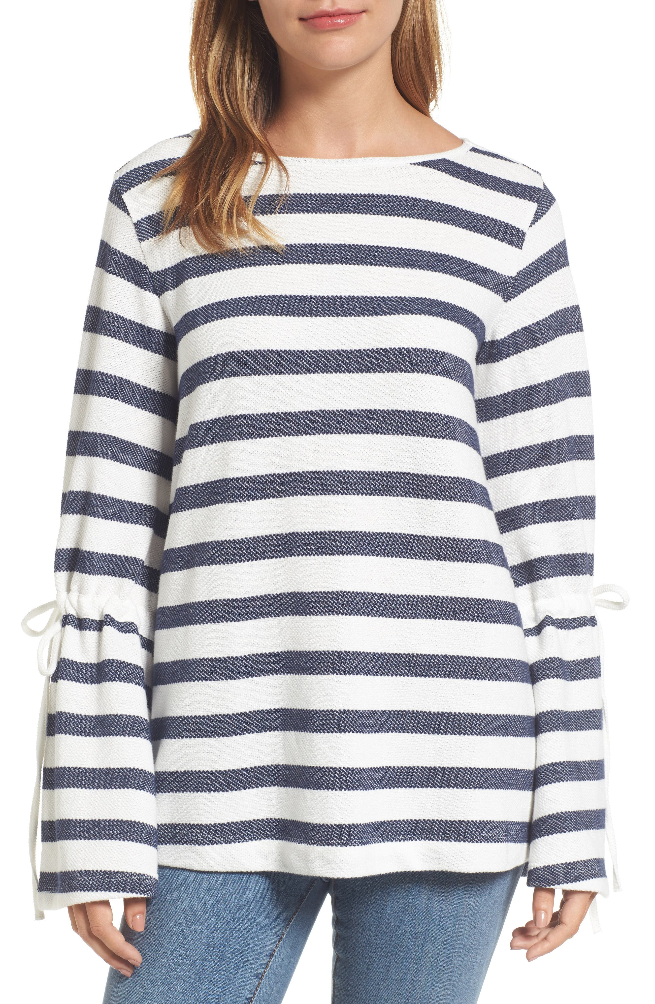 Stripe Bell Sleeve Top,                         Main,                         color, 410