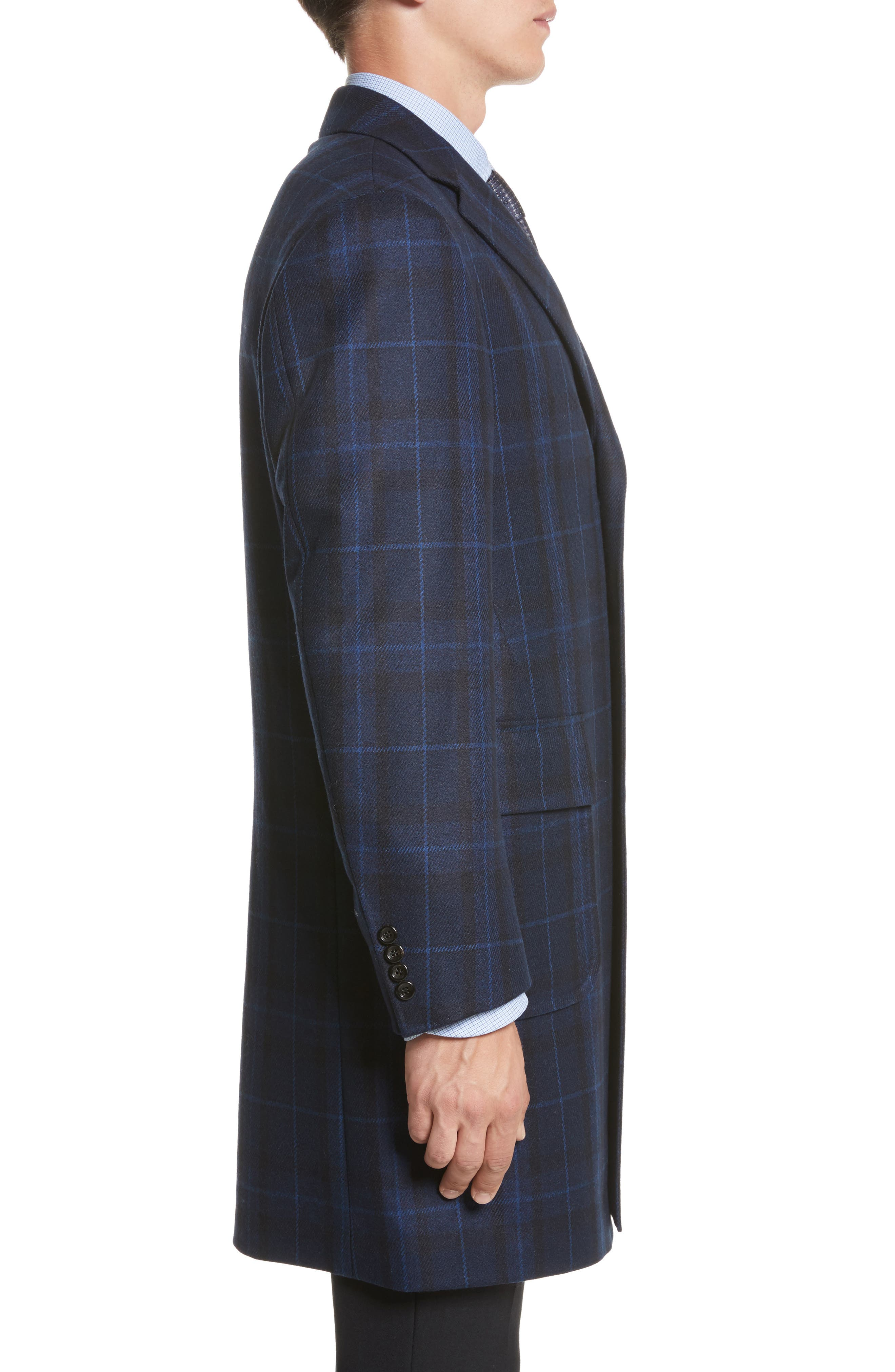 Classic Fit Plaid Wool & Cashmere Blend Topcoat,                             Alternate thumbnail 3, color,                             410
