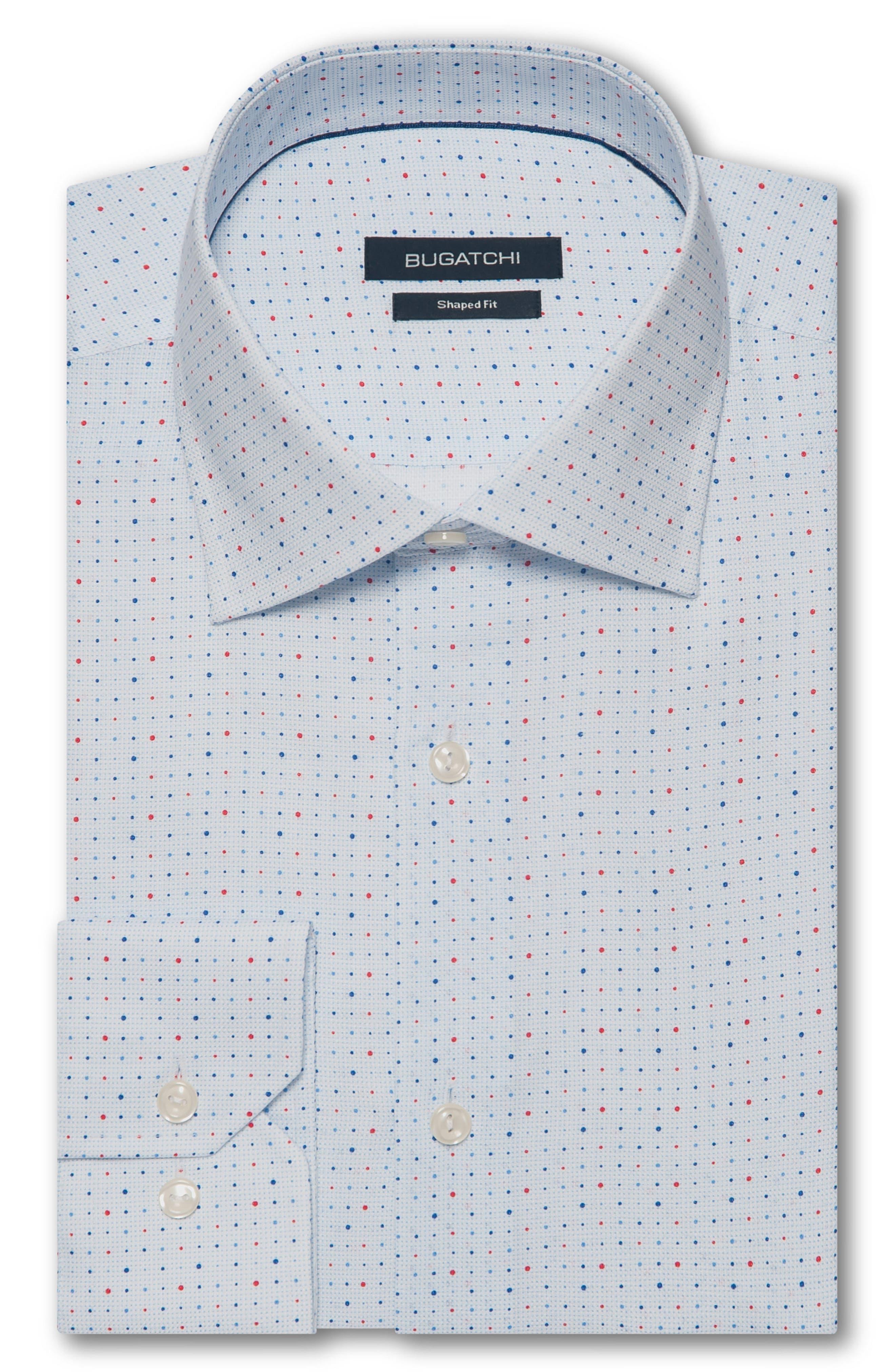 Trim Fit Dot Dress Shirt,                             Alternate thumbnail 5, color,                             ICE BLUE