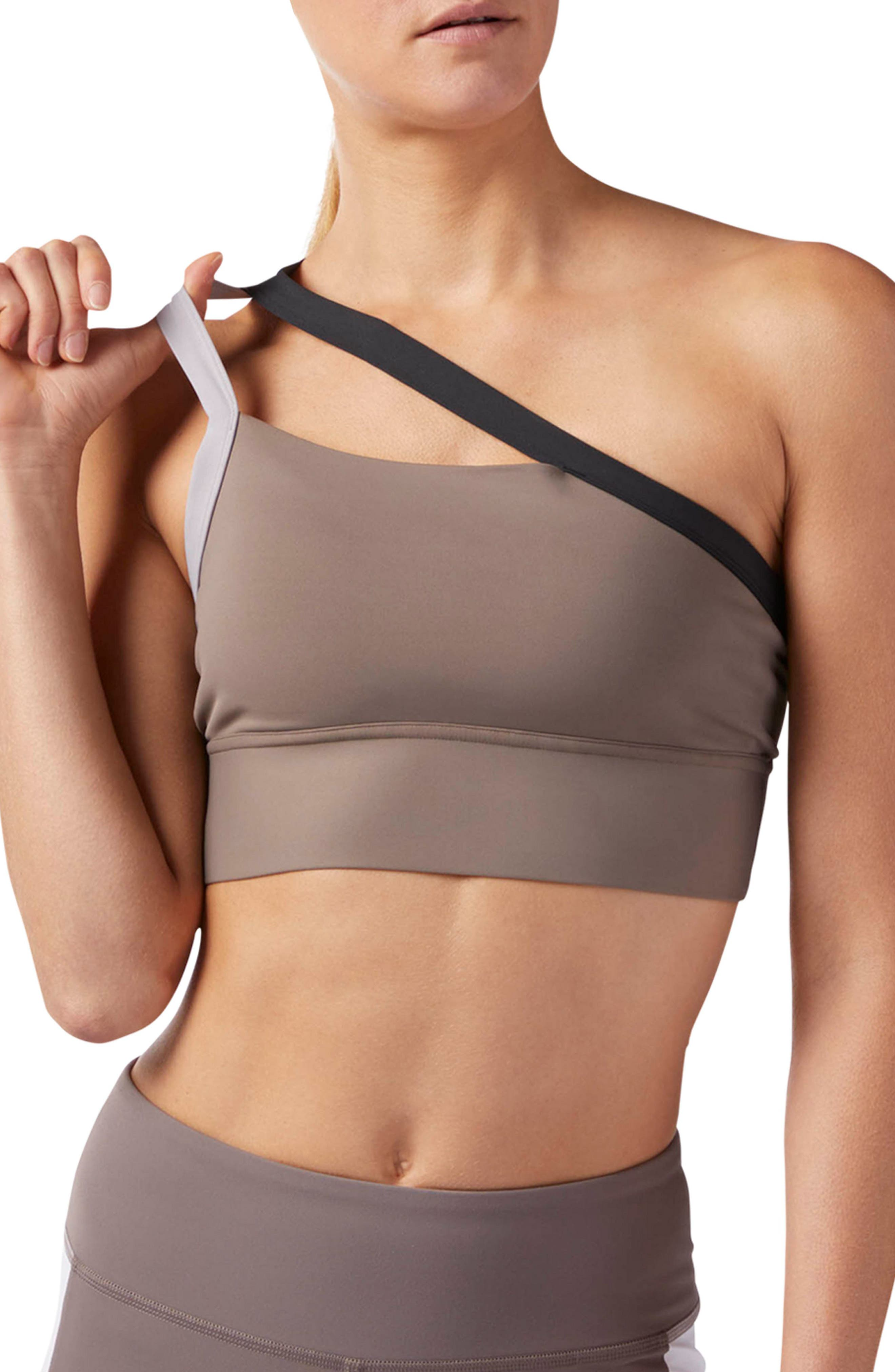 One-Shoulder Sports Bra,                         Main,                         color, SMOKY TAUPE S18-R