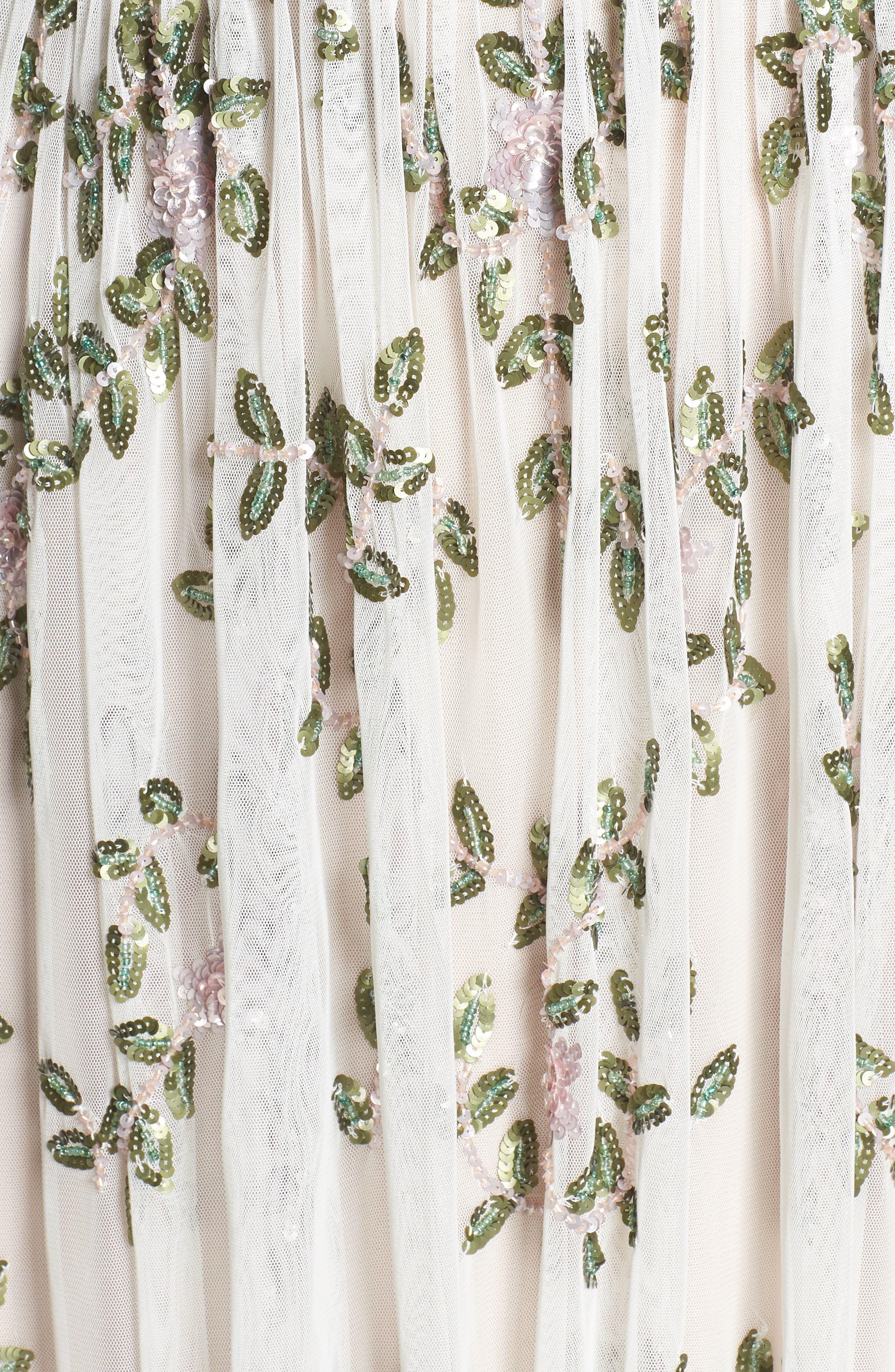 Flower Sequin Gown,                             Alternate thumbnail 5, color,