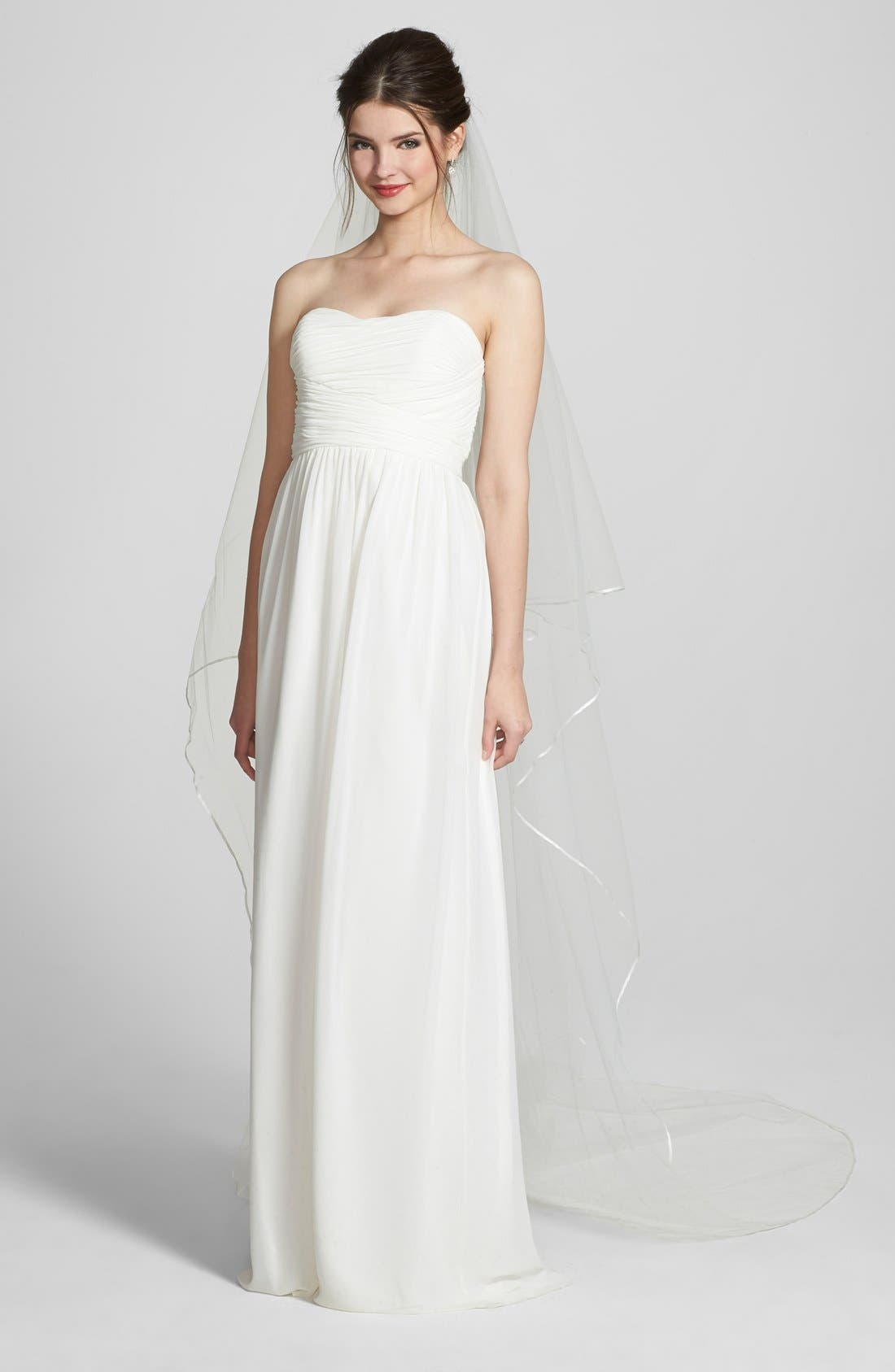'Mable' Two-Tier Satin Trim Cathedral Veil,                         Main,                         color, WHITE