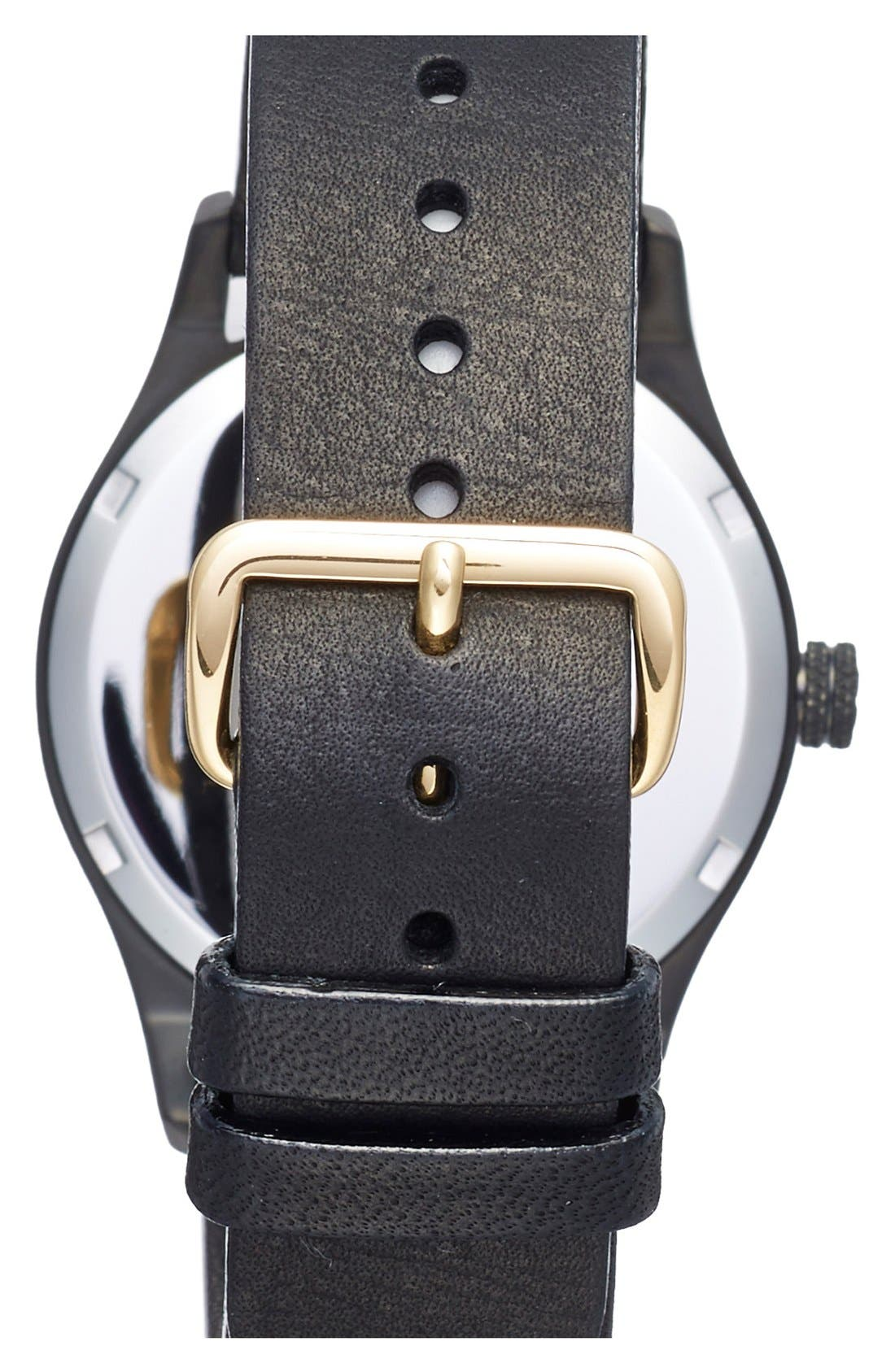 Sort of Black Leather Strap Watch, 38mm,                             Alternate thumbnail 3, color,                             001