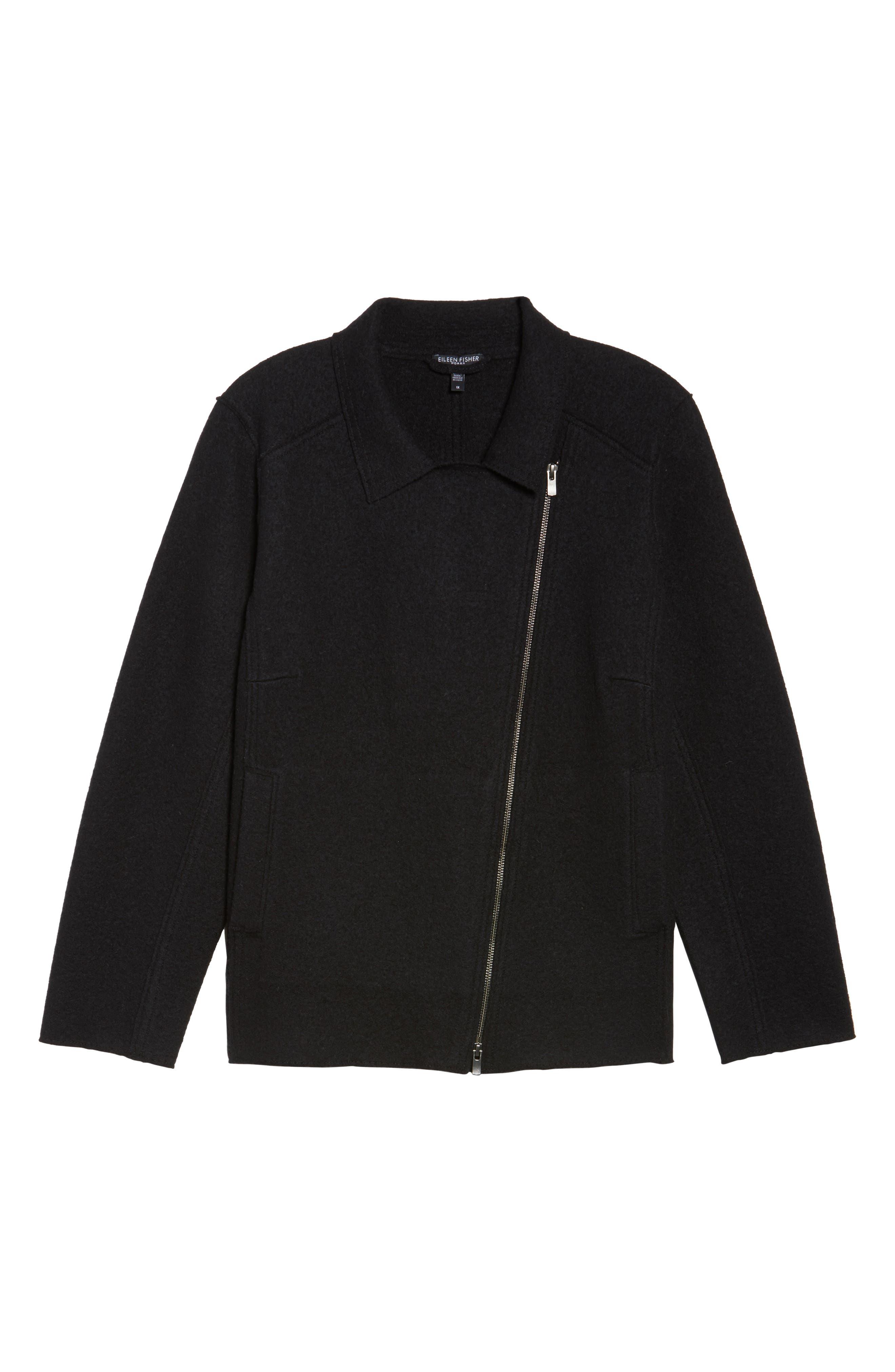 Boiled Wool Moto Jacket,                             Alternate thumbnail 5, color,                             001