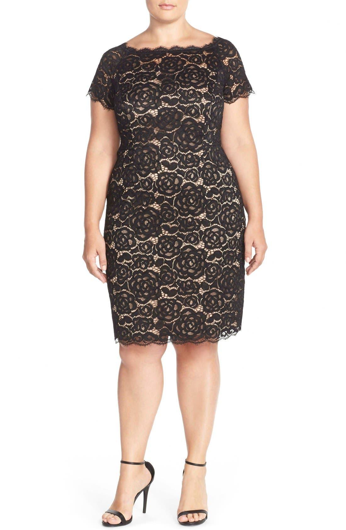 Off the Shoulder Lace Sheath Dress,                             Alternate thumbnail 3, color,                             BLACK/ NUDE