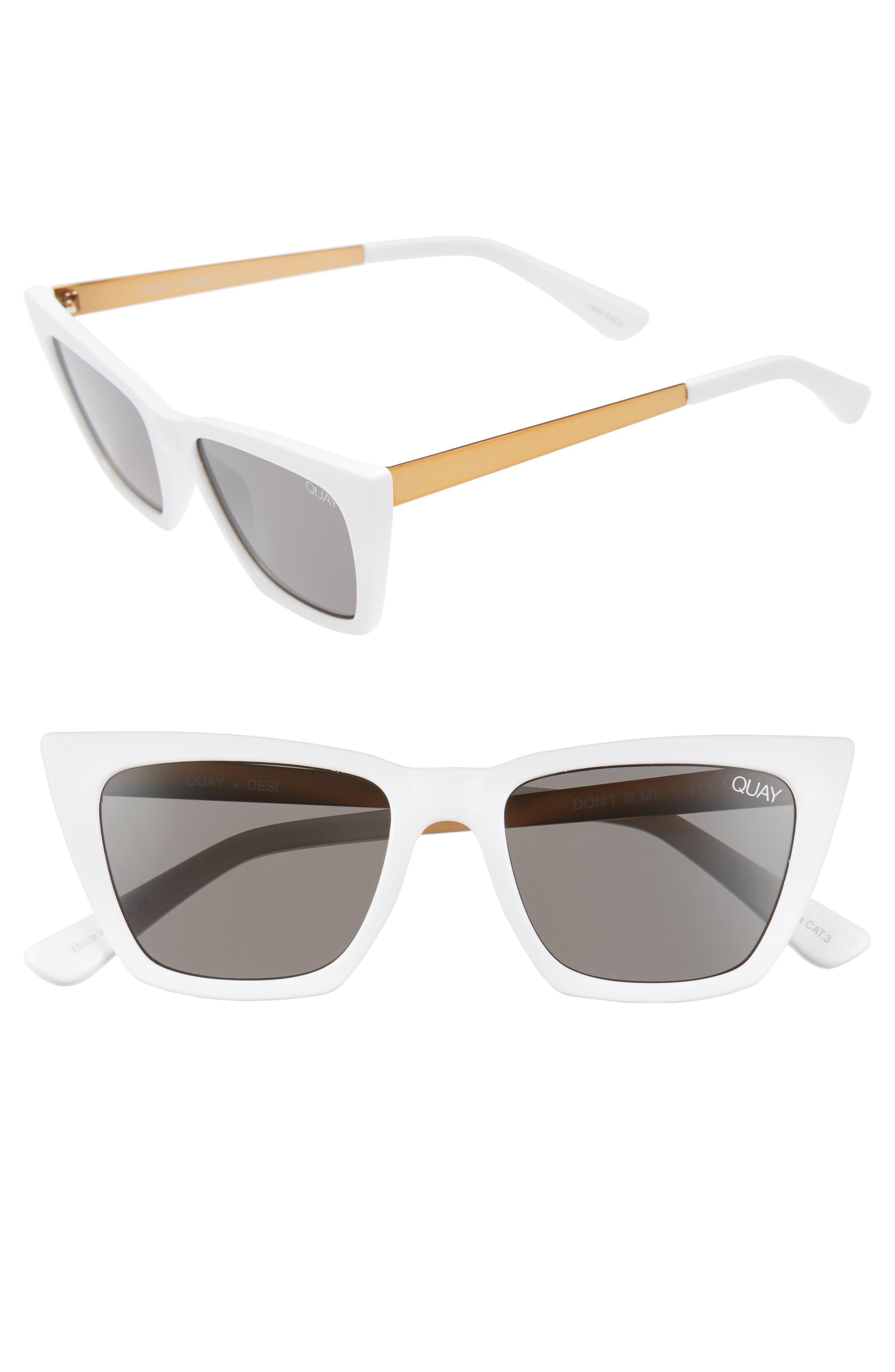 x Desi Perkins Don't @ Me 48mm Cat Eye Sunglasses,                             Main thumbnail 1, color,                             WHITE/ SMOKE