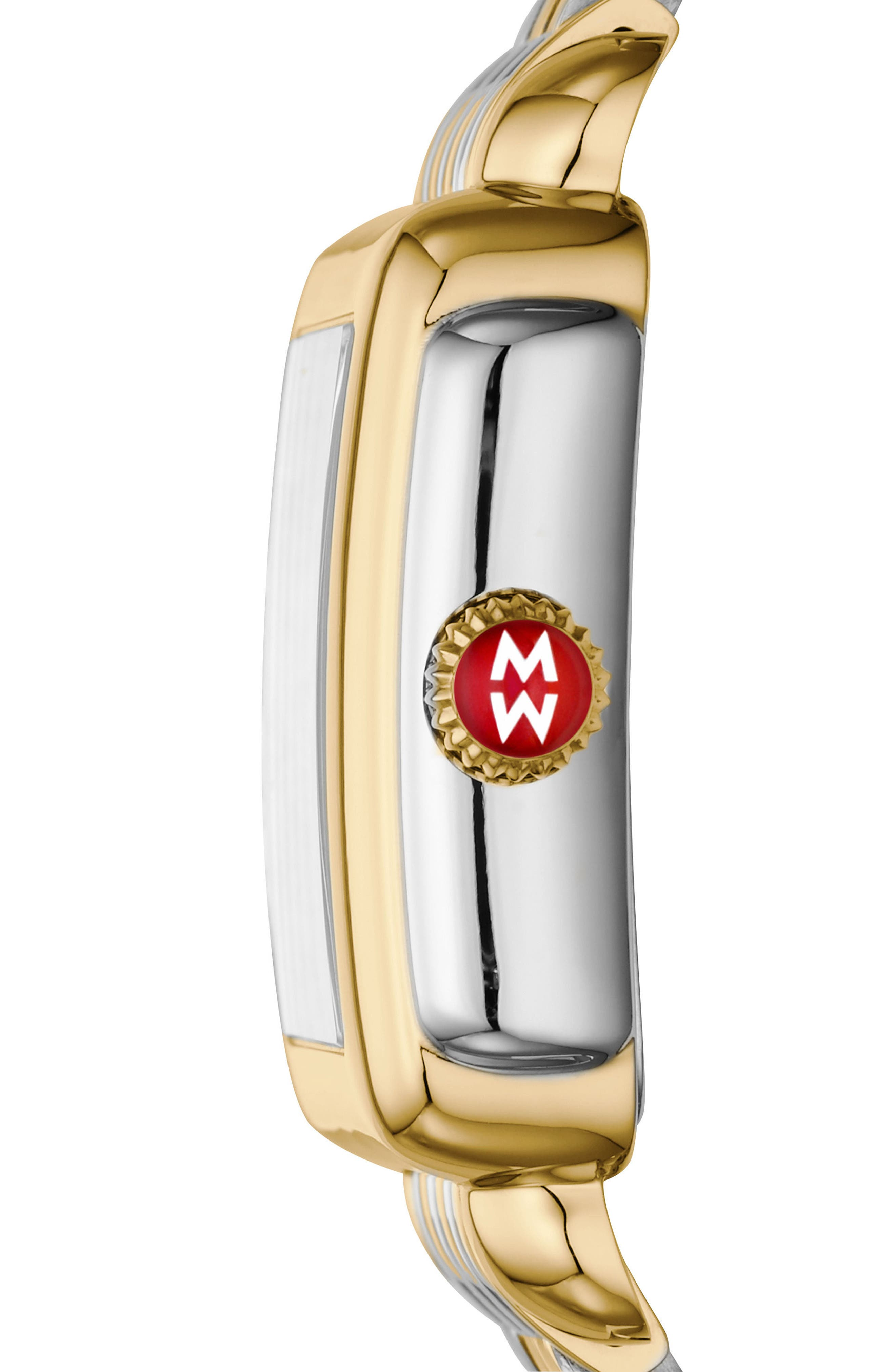 Deco Madison Diamond Dial Watch Case, 33mm x 35mm,                             Alternate thumbnail 3, color,                             GOLD/ STAINLESS STEEL